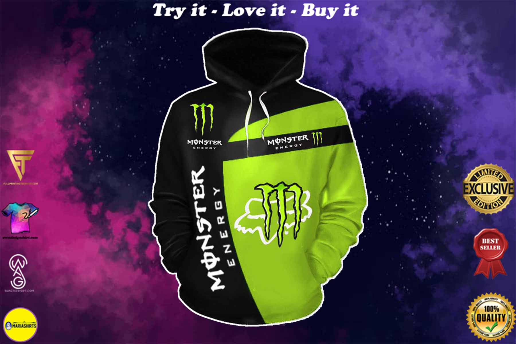 [special edition] fox racing and monster energy racing sport full printing shirt - maria