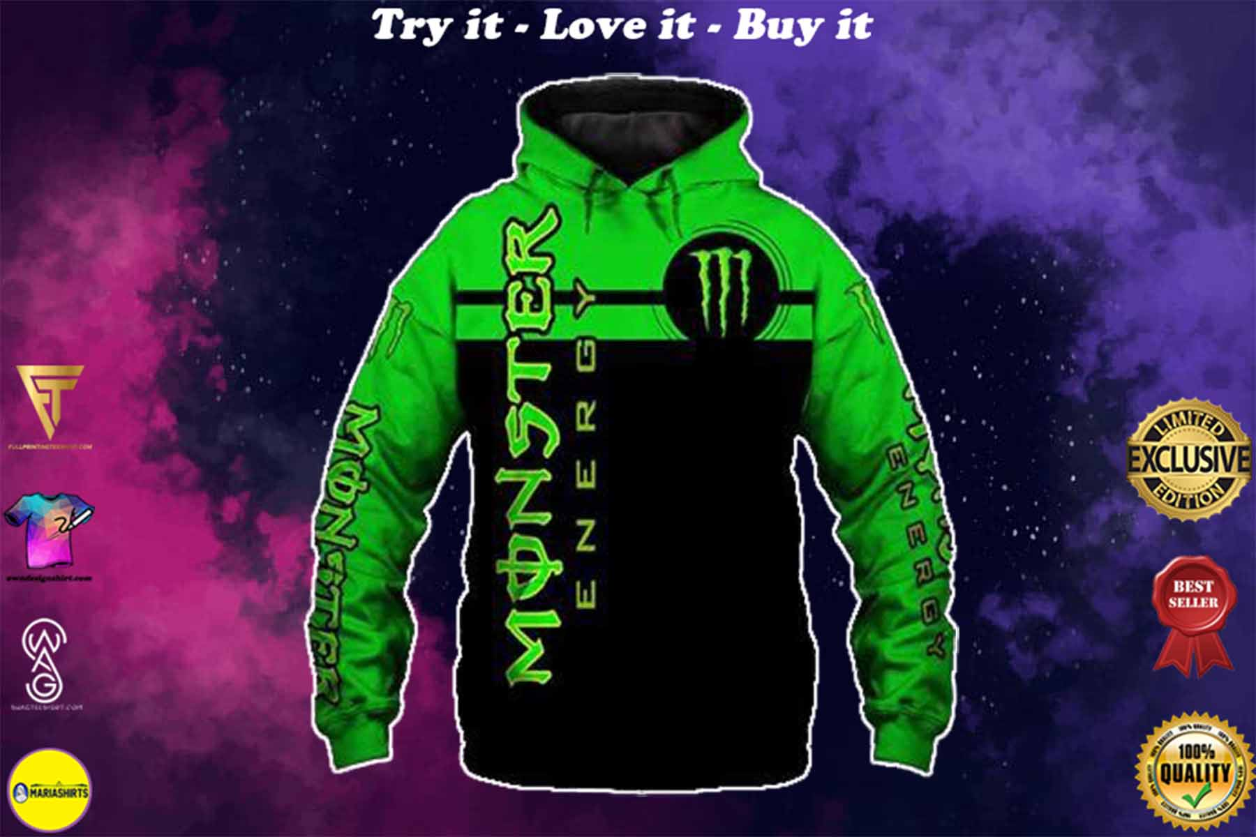 [special edition] fox racing team and monster energy motocross supercross full printing shirt - maria