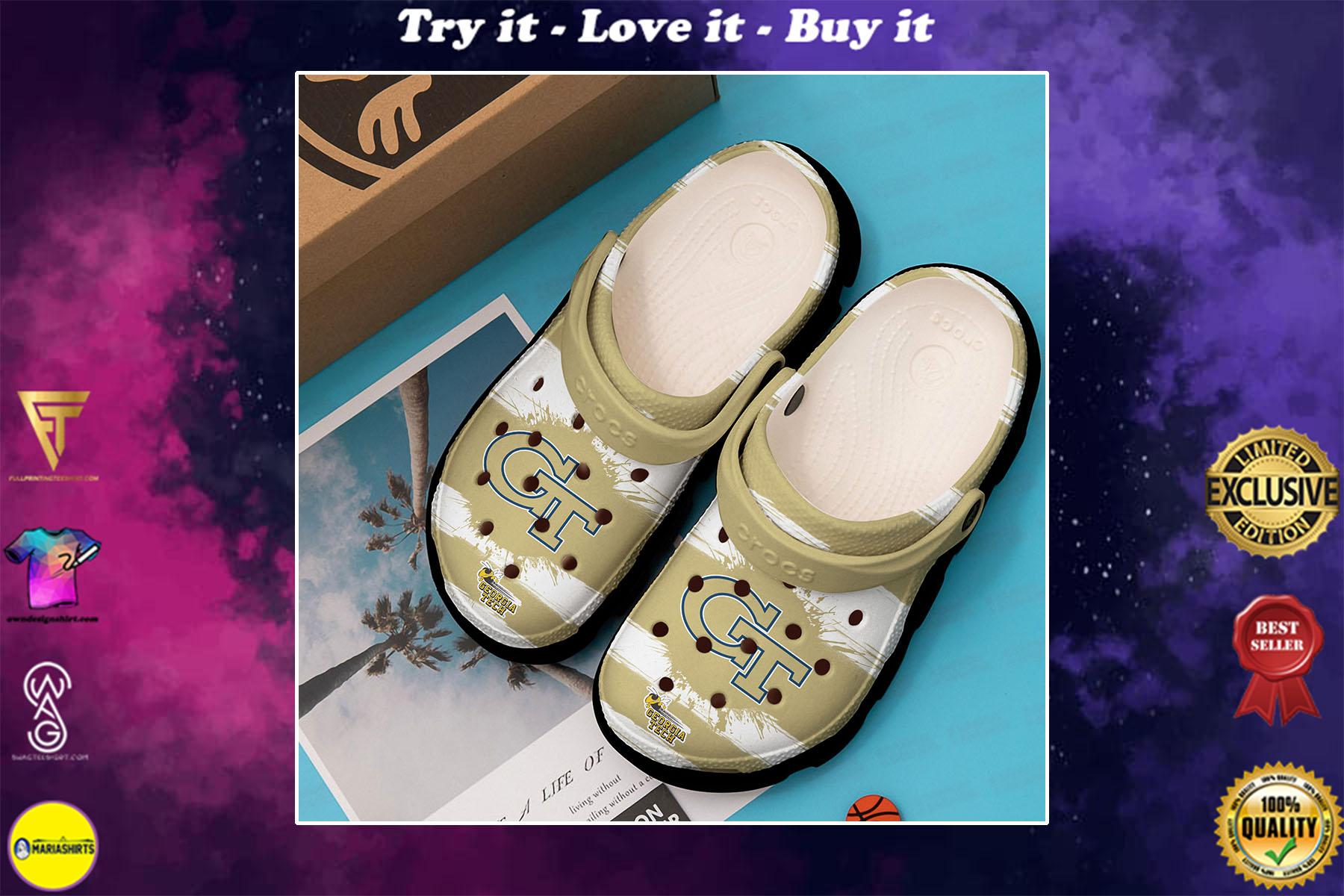 [special edition] georgia tech yellow jackets football crocs shoes - maria
