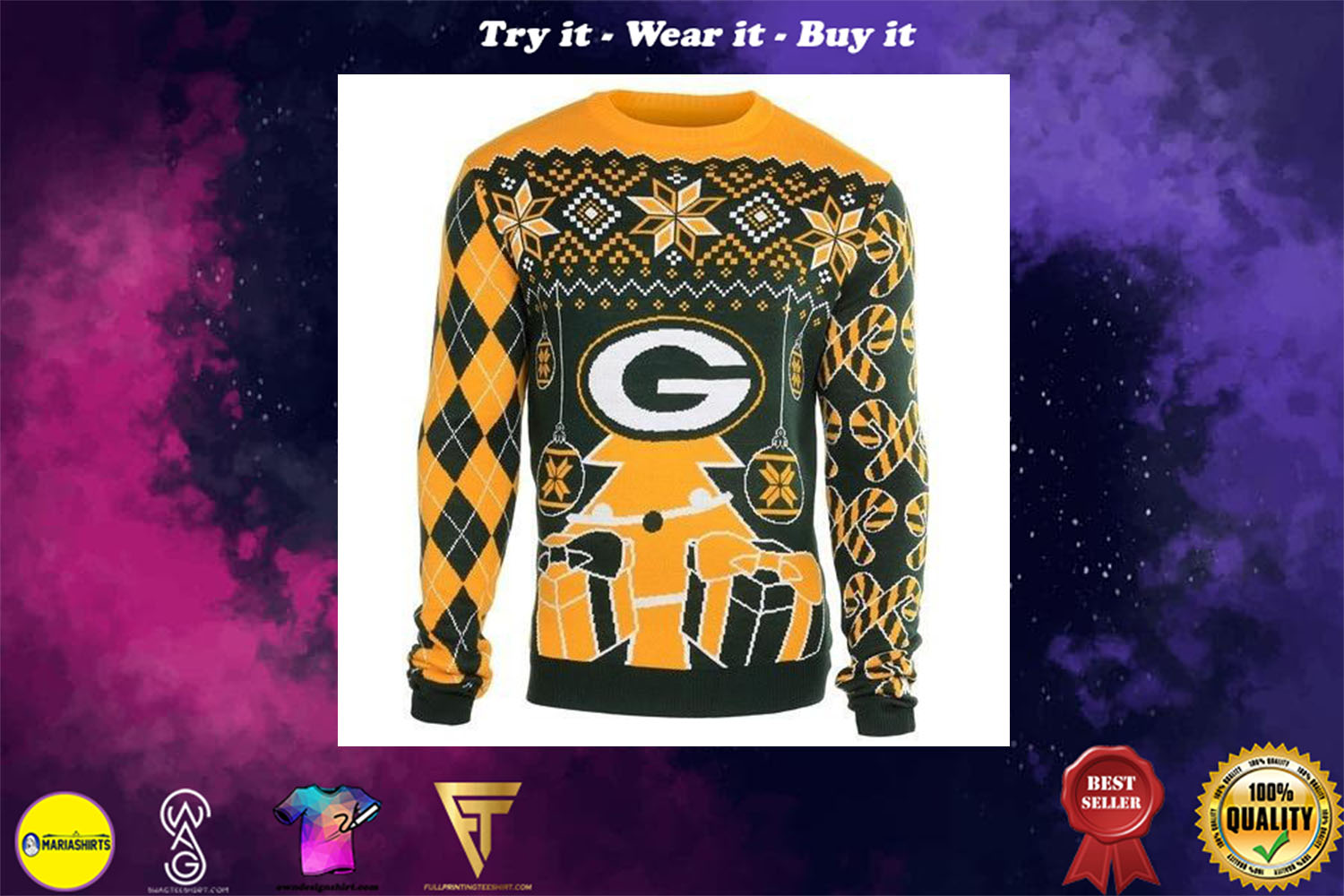 [special edition] green bay packers holiday ugly christmas sweater - maria