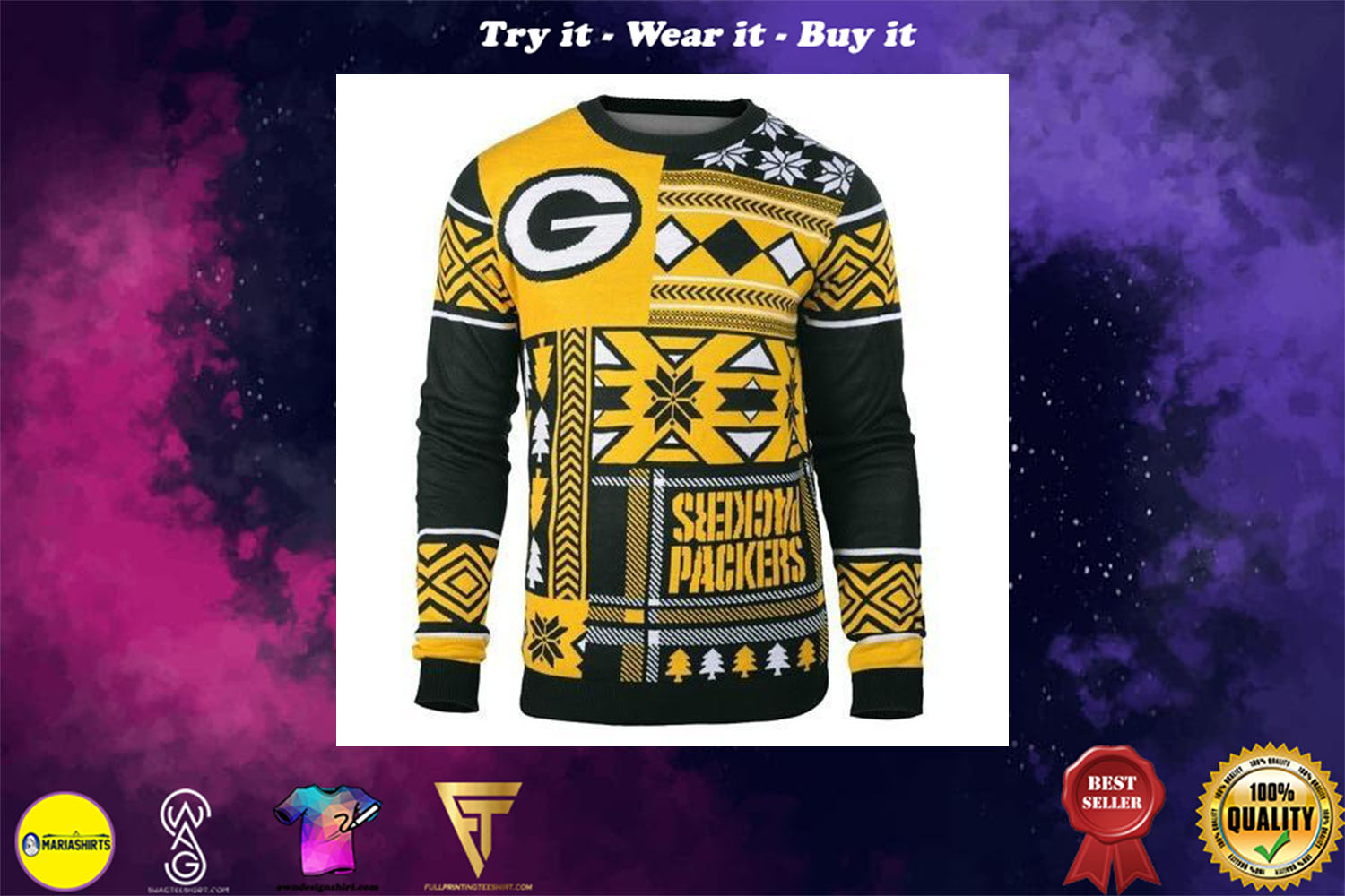 [special edition] green bay packers patches ugly christmas sweater - maria