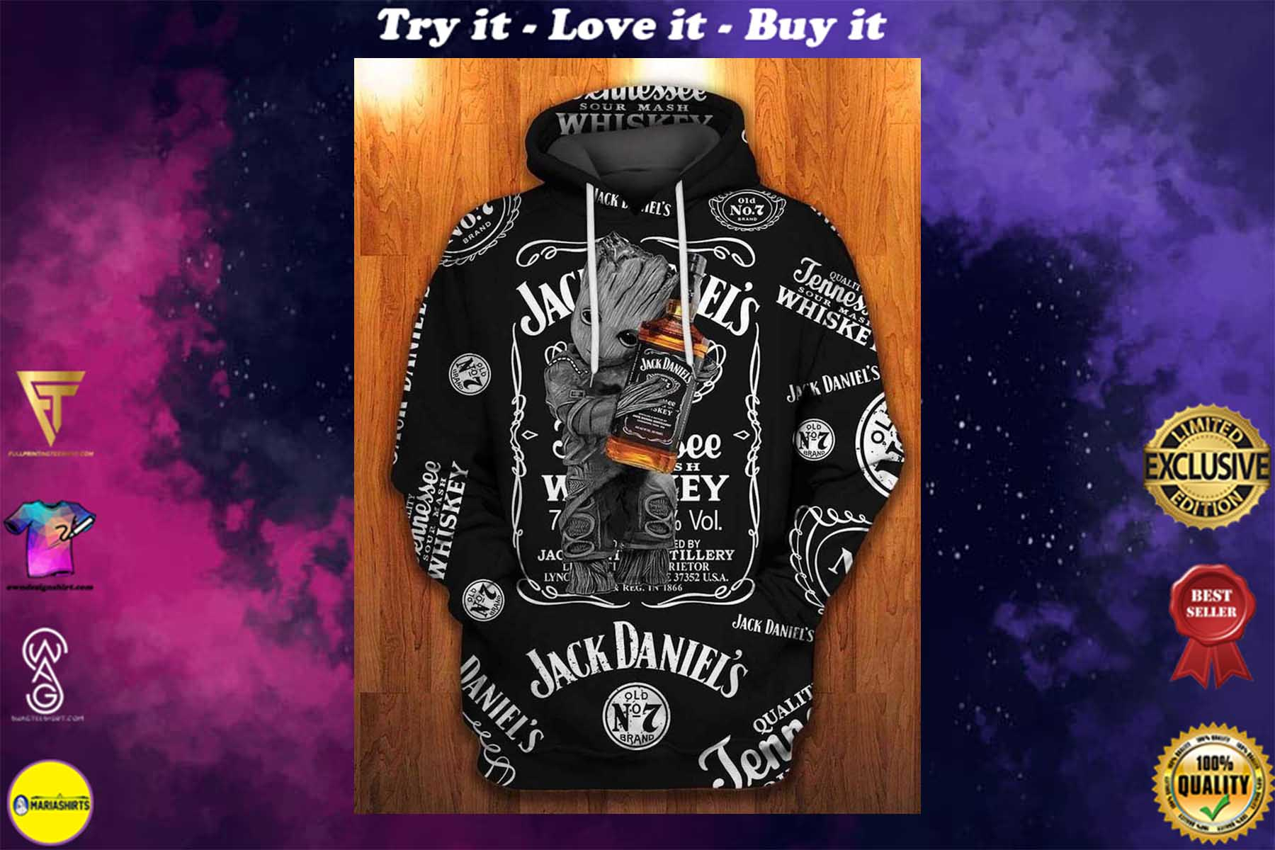 [special edition] groot loves jack daniels old number 7 full printing shirt - maria