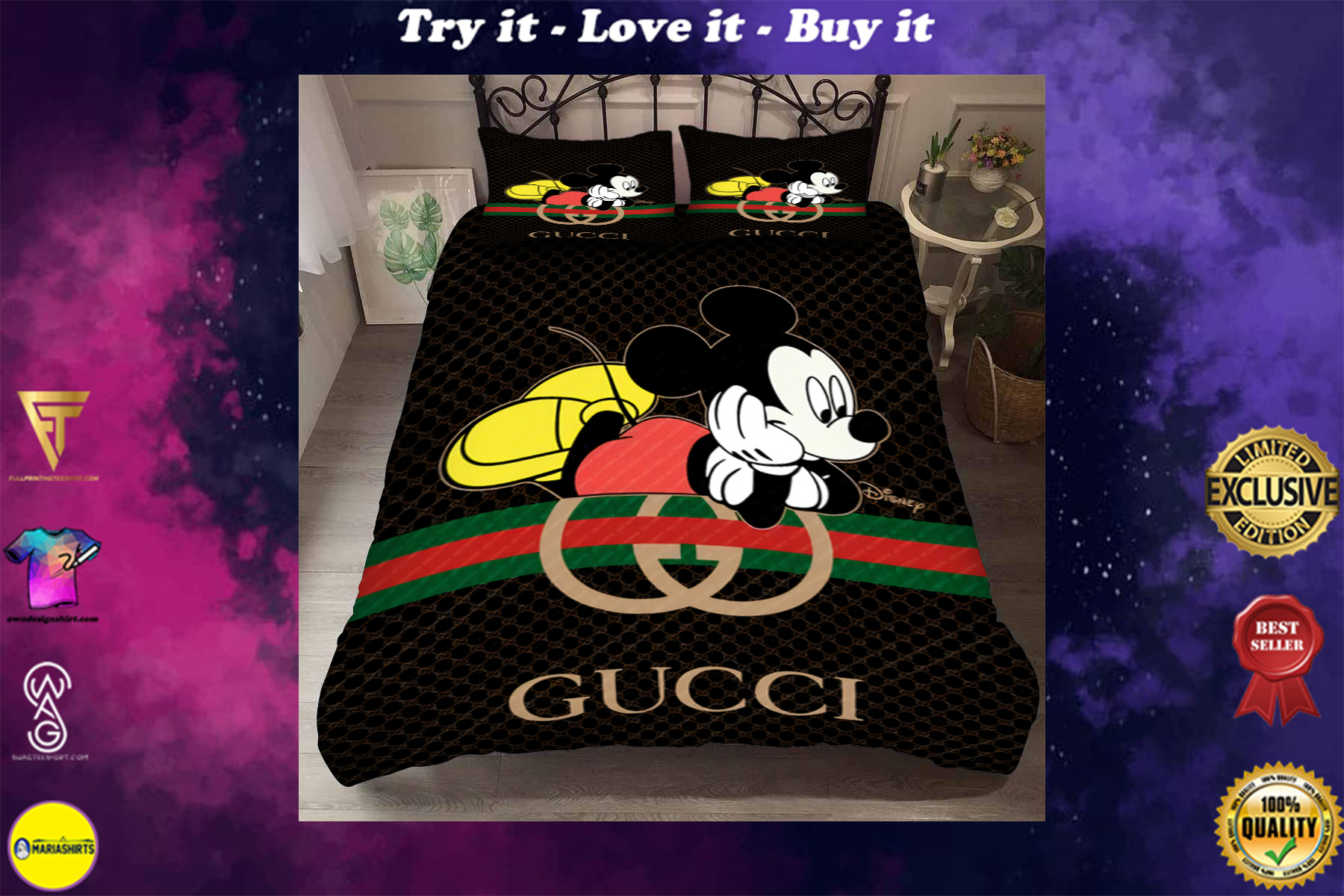 [special edition] gucci and mickey mouse bedding set - maria