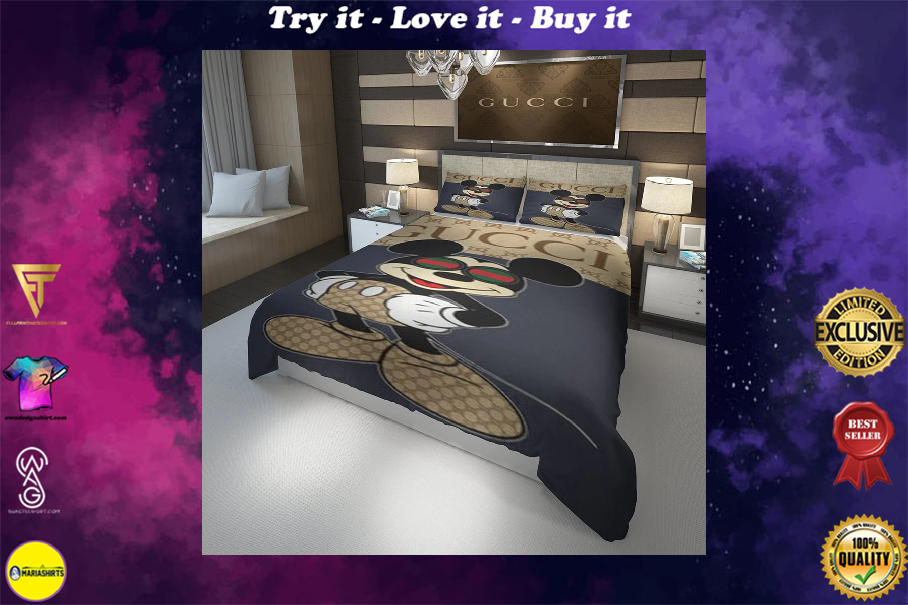 [special edition] gucci mickey mouse with glasses bedding set - maria