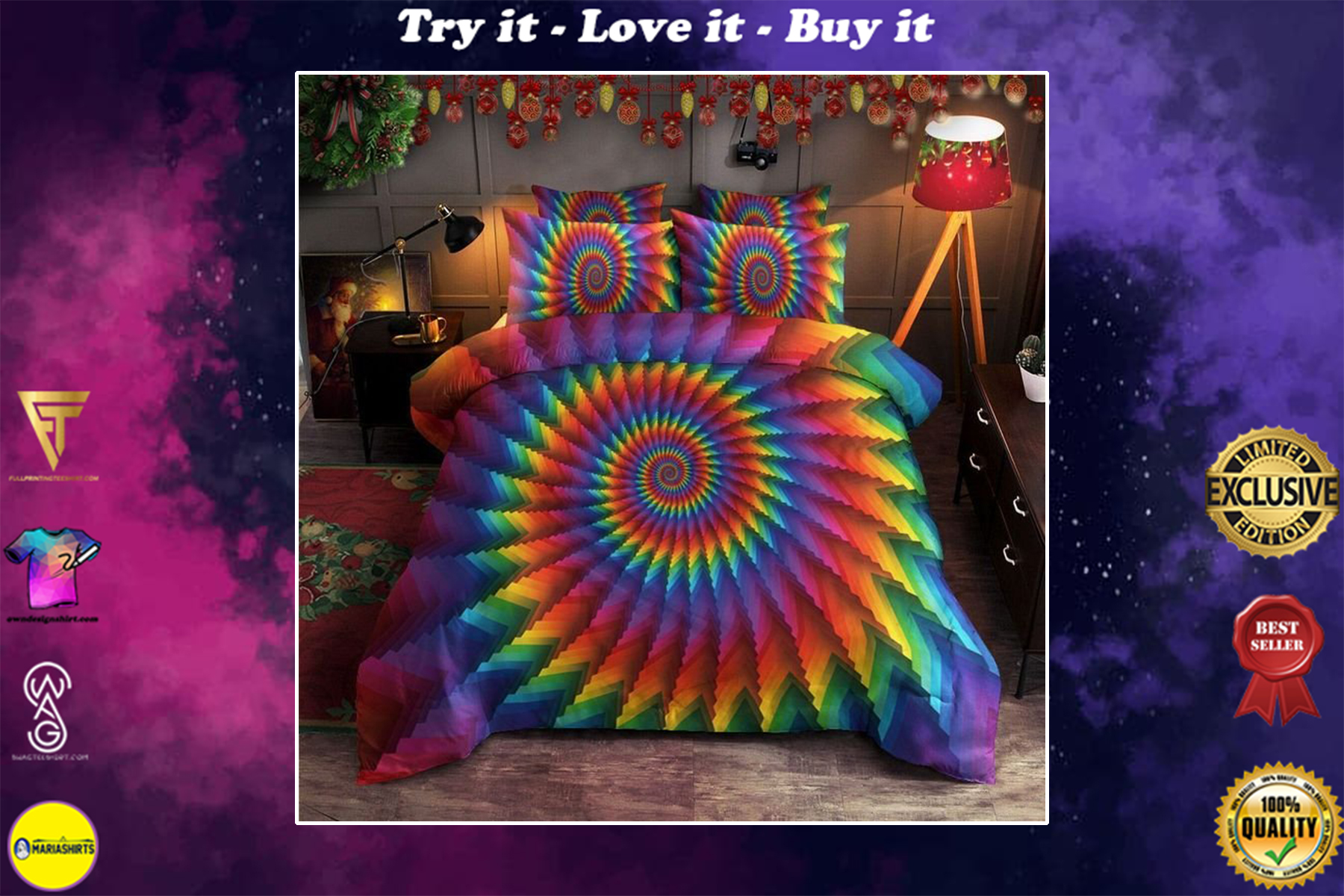 [special edition] hippie tie dye bedding set - maria