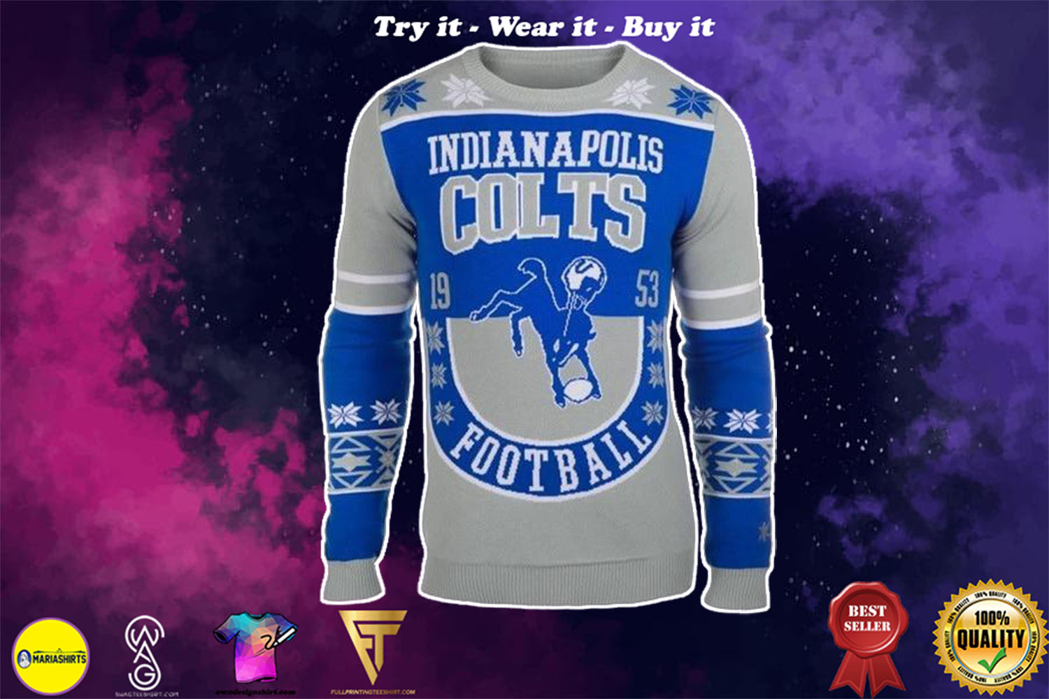 [special edition] indianapolis colts national football league ugly christmas sweater - maria