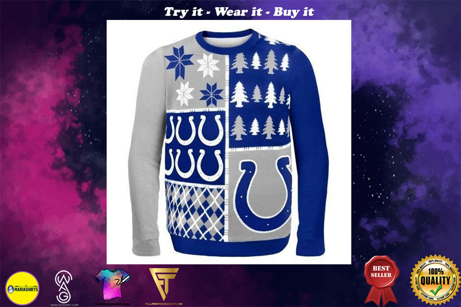 [special edition] indianapolis colts ugly christmas sweater - maria
