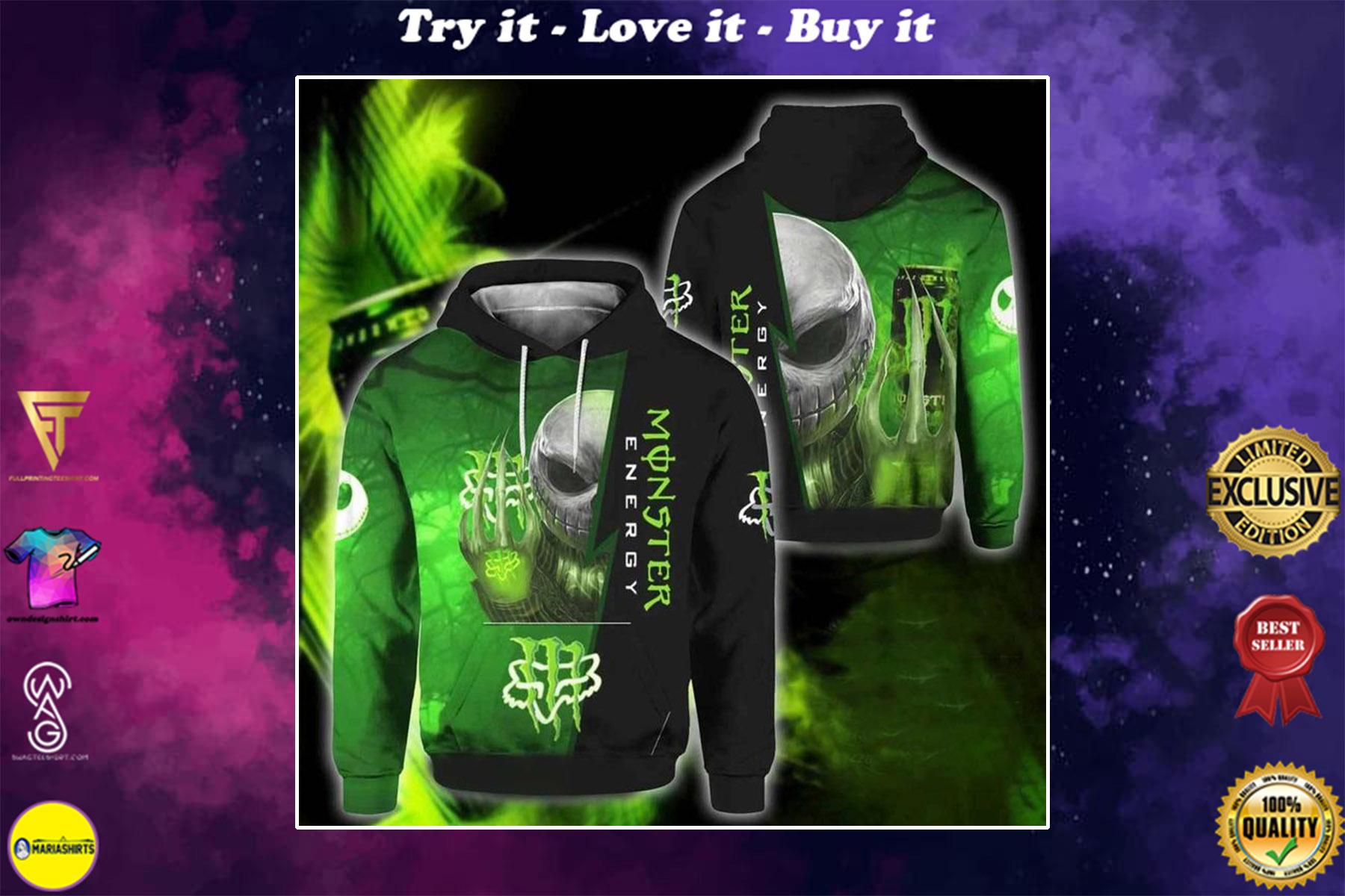 [special edition] jack skellington monster energy graphic symbol full printing shirt - maria
