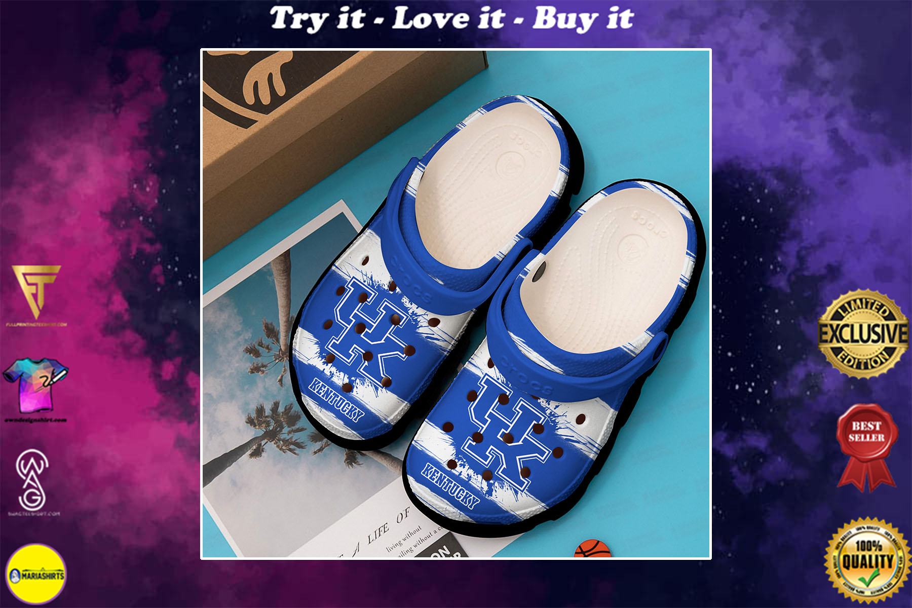[special edition] kentucky wildcats college football crocs shoes - maria