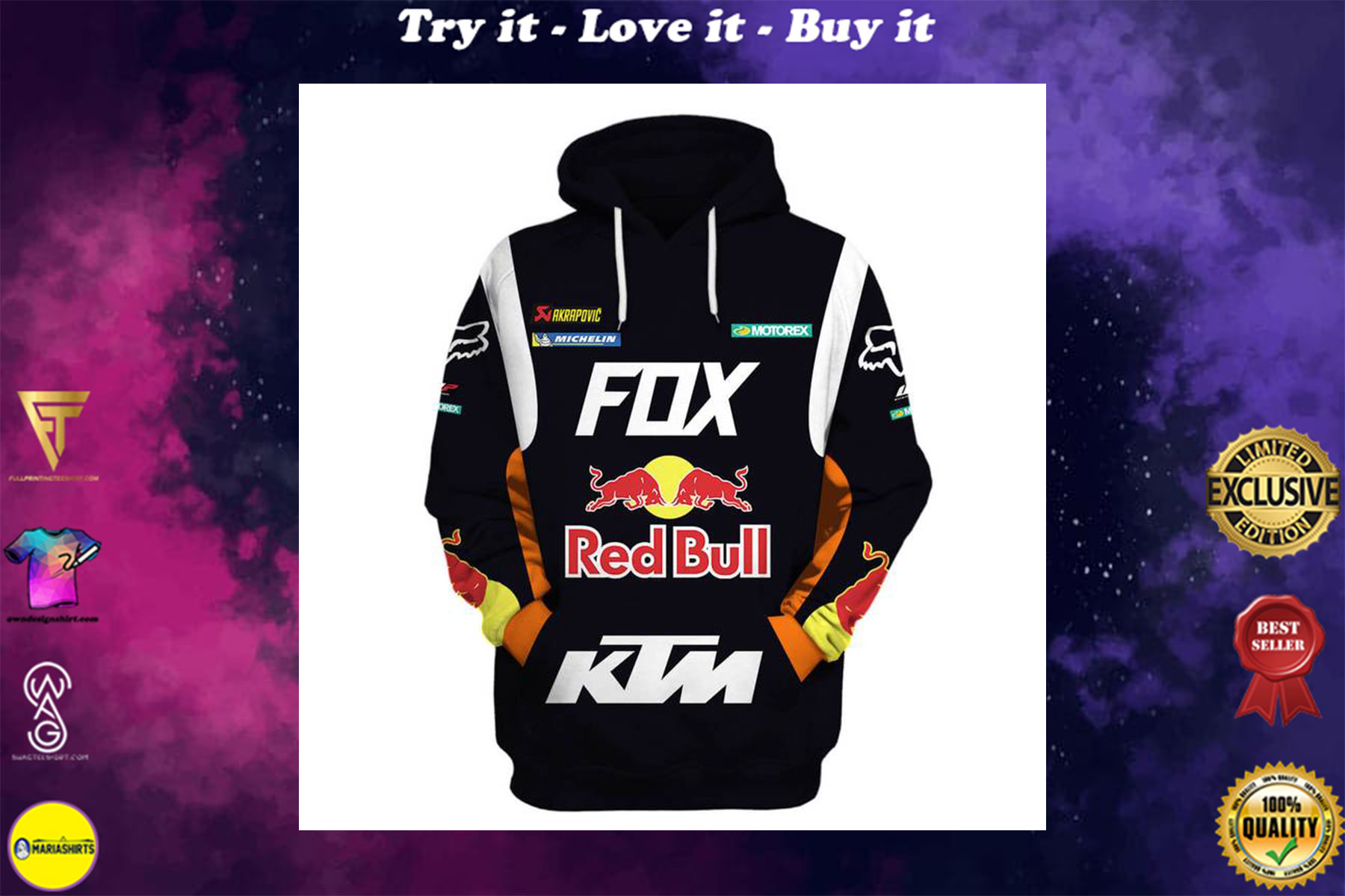[special edition] ktm motorex red bull motorcycle racing team full printing shirt - maria