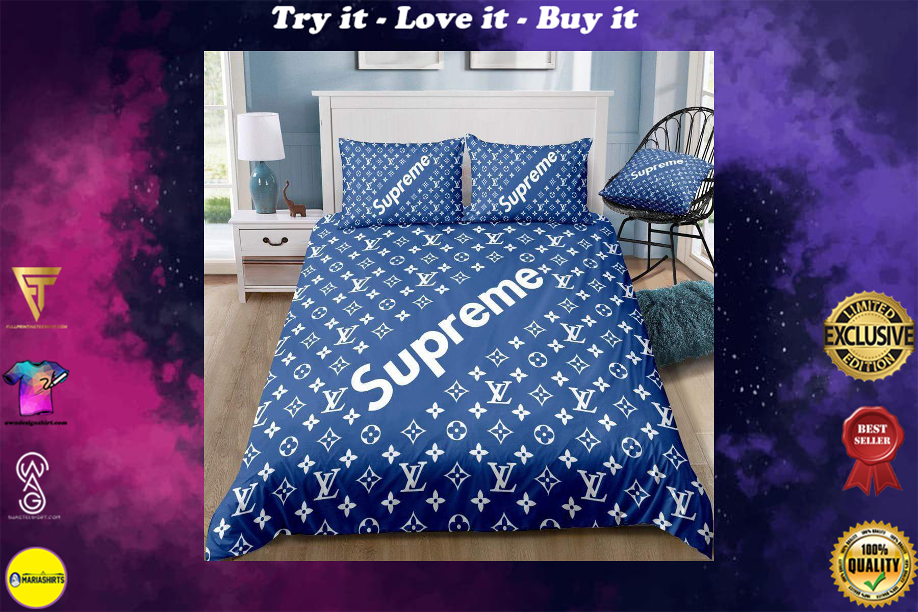 [special edition] louis vuitton and supreme bedding set - maria
