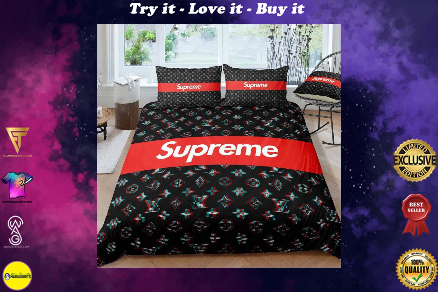 [special edition] louis vuitton and supreme monogram bedding set - maria