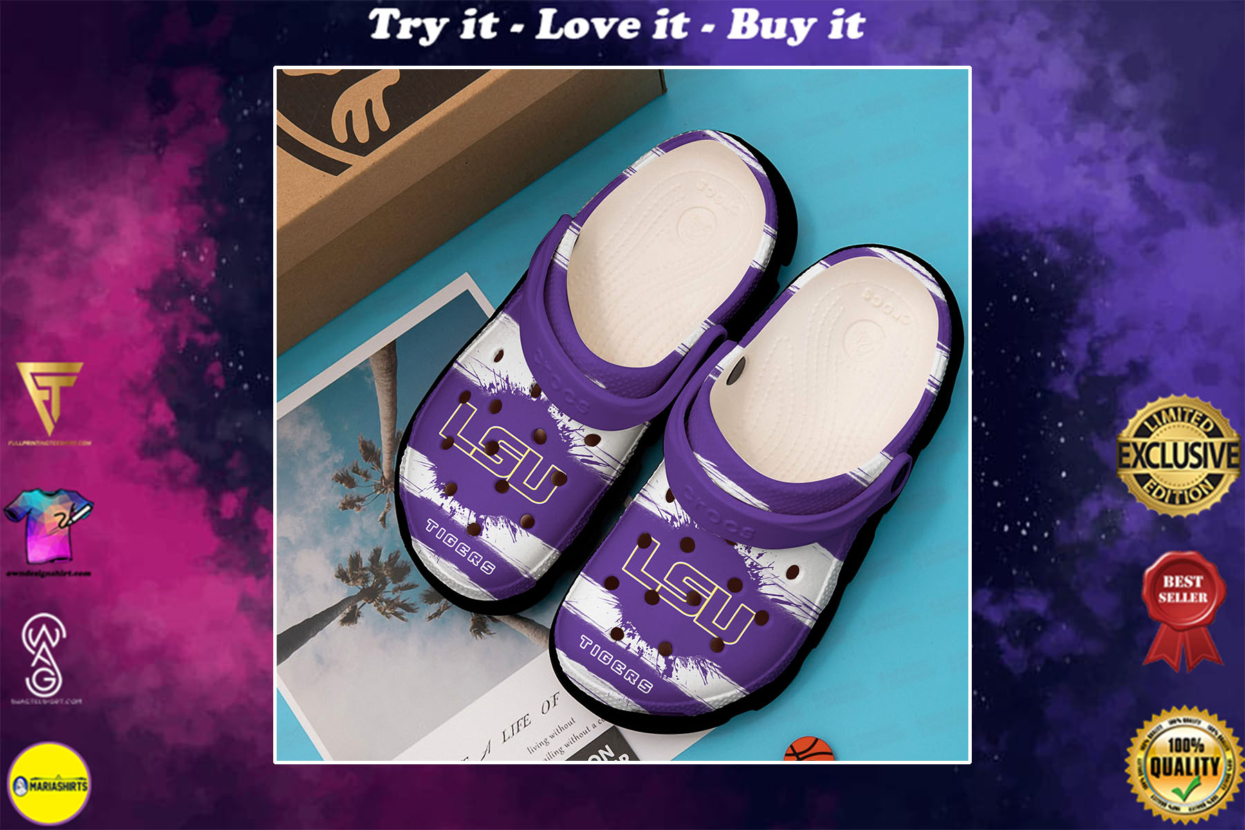 [special edition] lsu tigers college football crocs shoes - maria