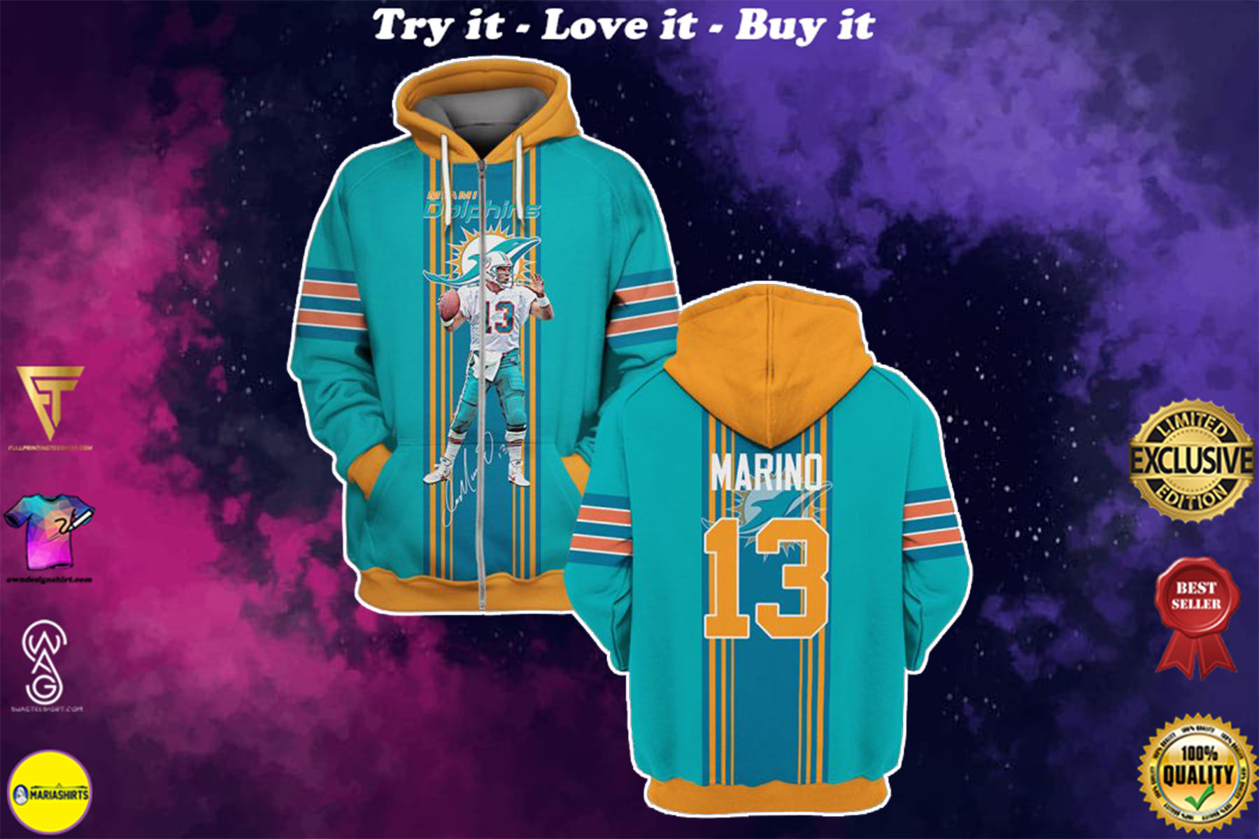 [special edition] miami dolphins dan marino 13 full over printed shirt - maria