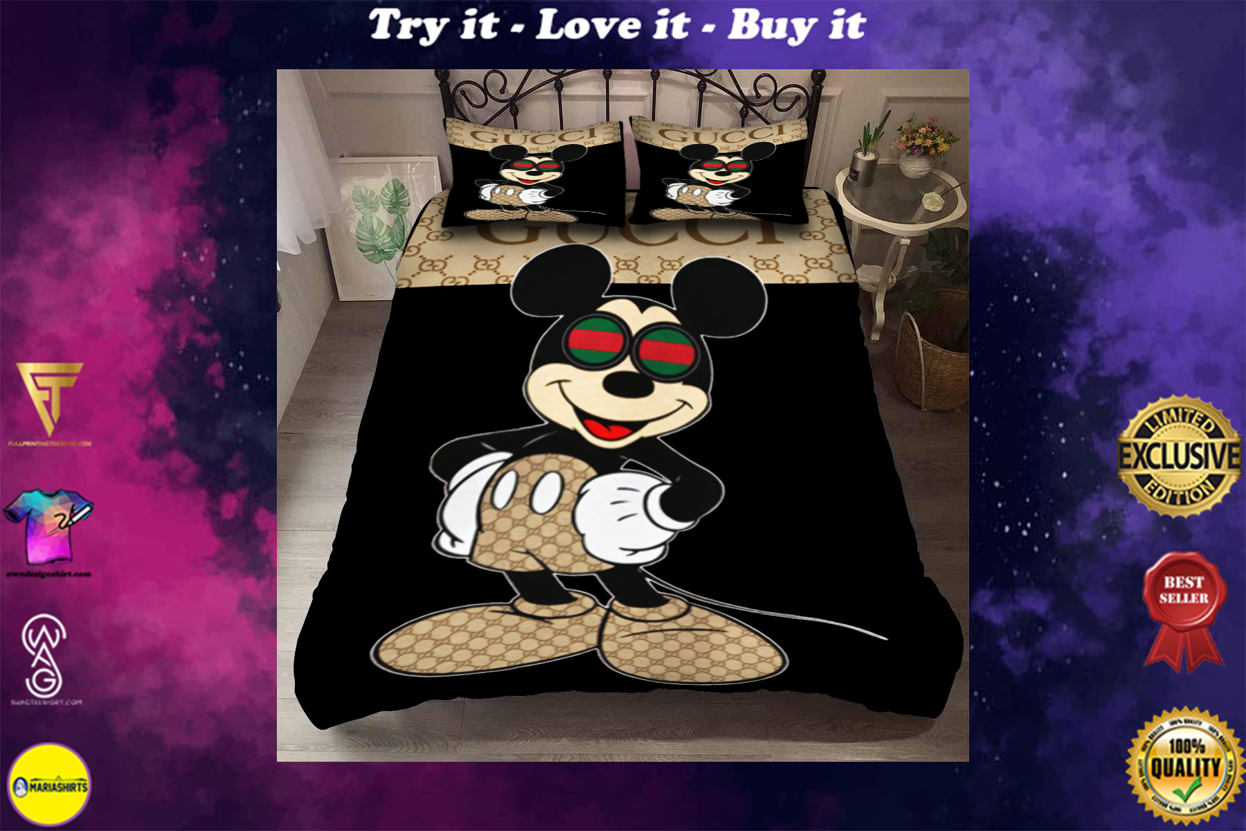 [special edition] mickey mouse with gucci monogram bedding set - maria