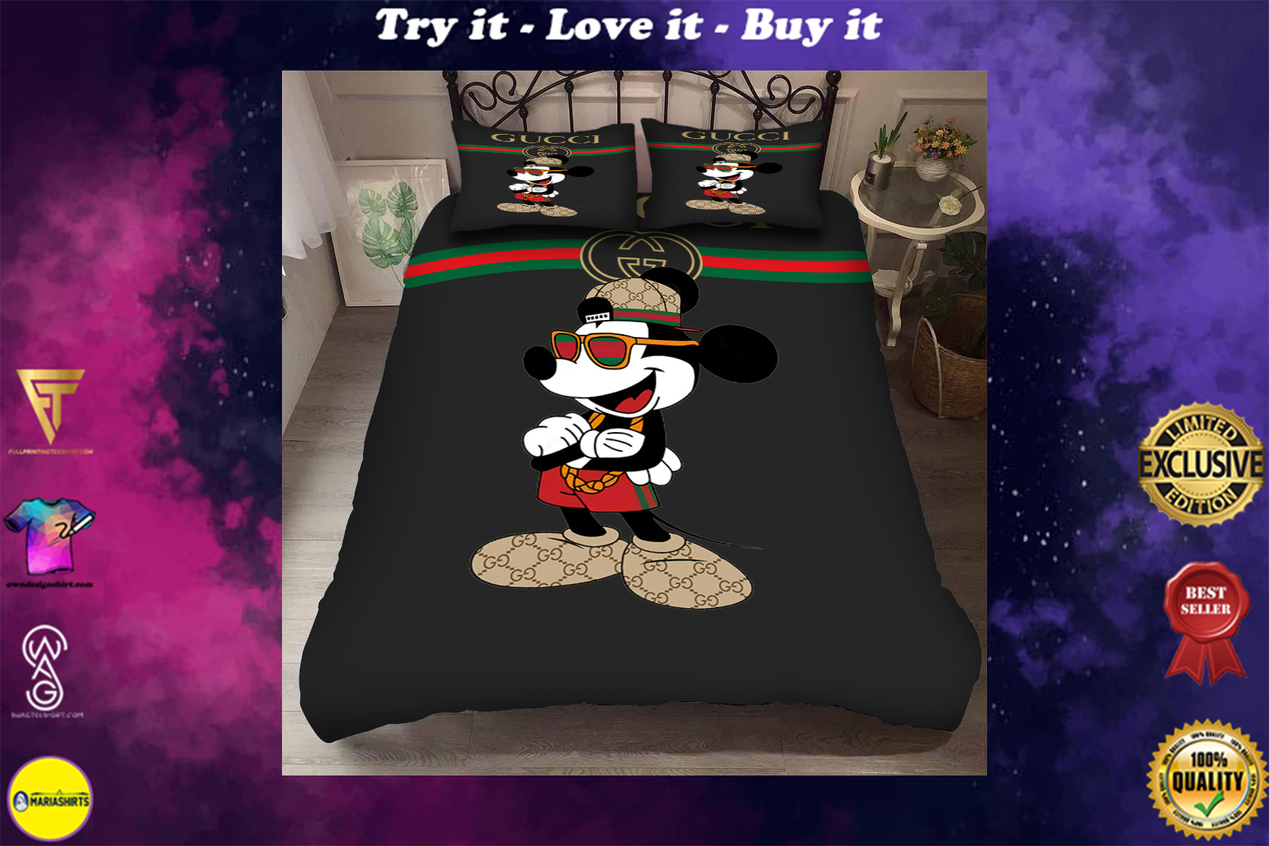 [special edition] mickey mouse with gucci symbol bedding set - maria