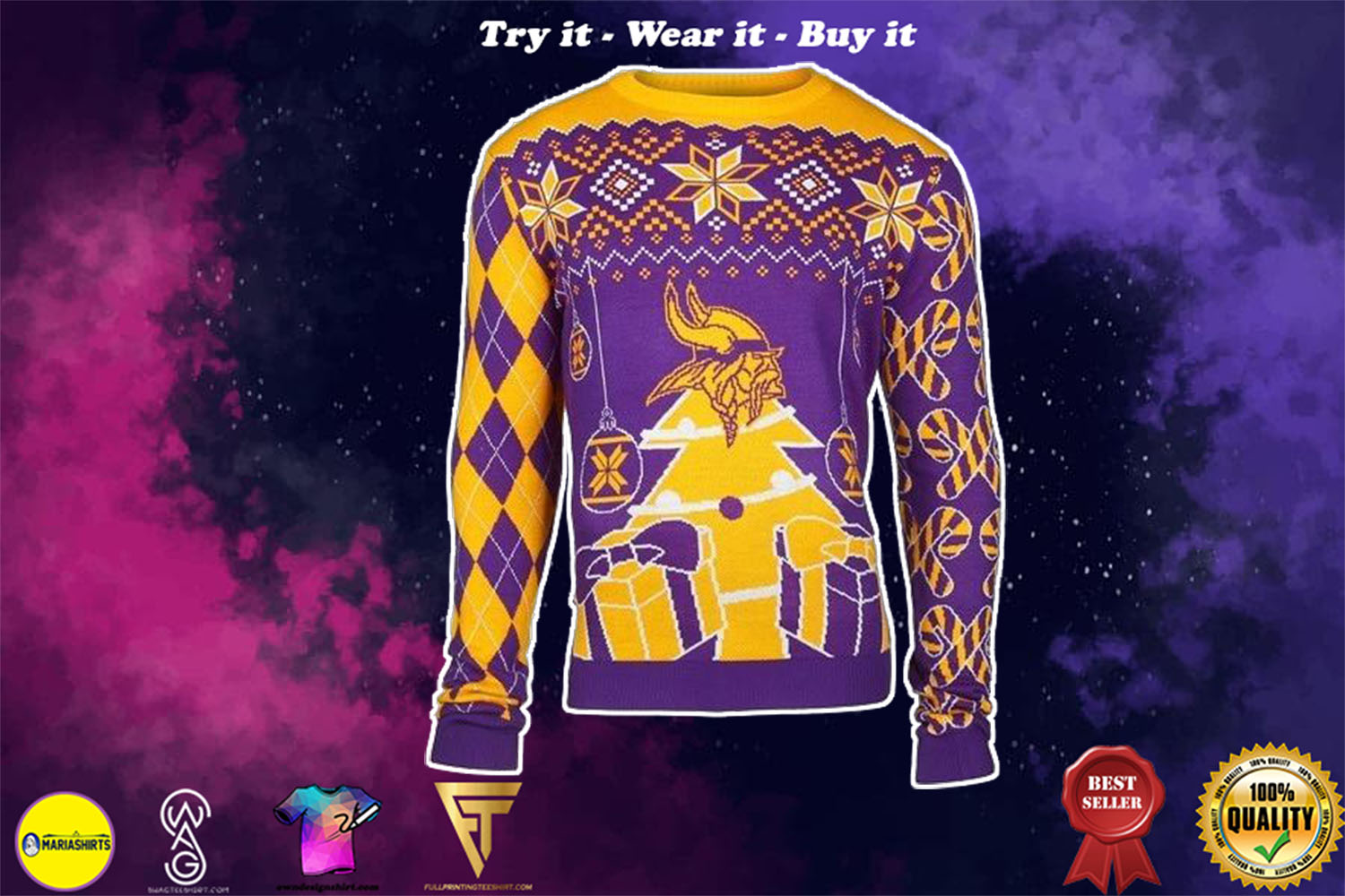 [special edition] minnesota vikings ugly christmas sweater - maria