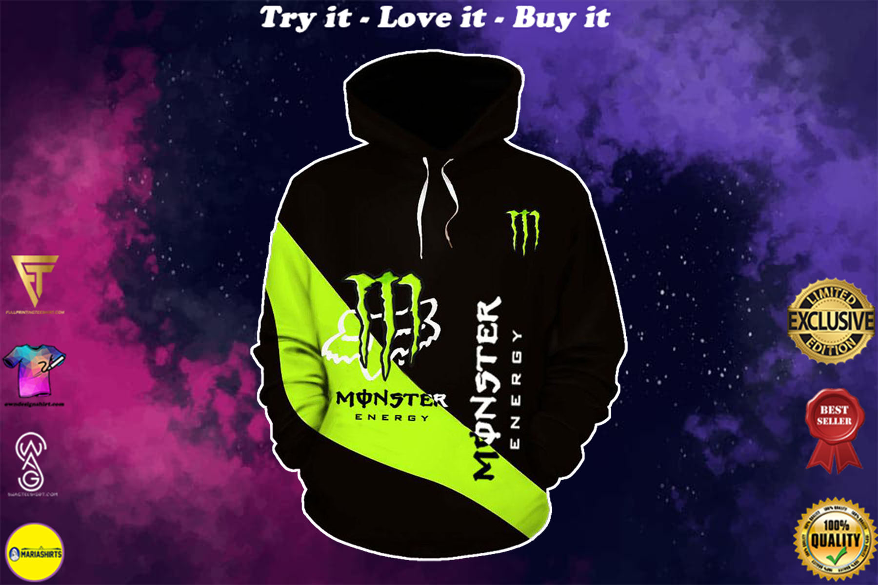 [special edition] monster energy and fox racing mountain bike full printing shirt - maria