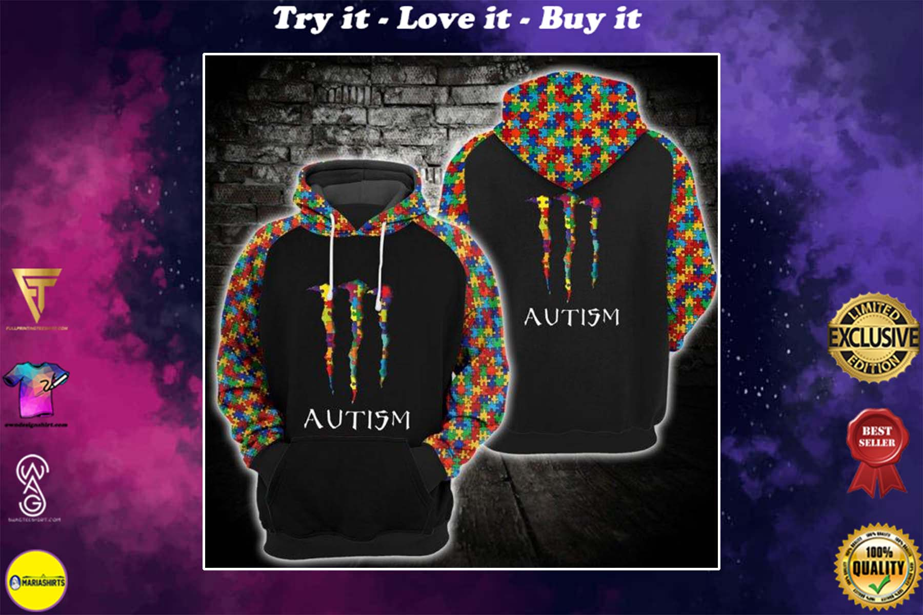 [special edition] monster energy autism awareness full printing shirt - maria