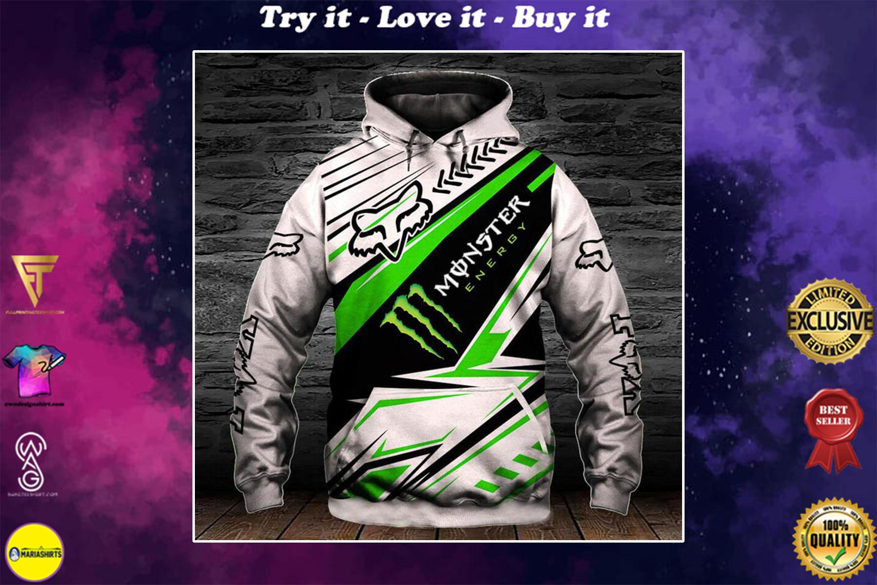 [special edition] monster energy fox racing motocross supercross full printing shirt - maria