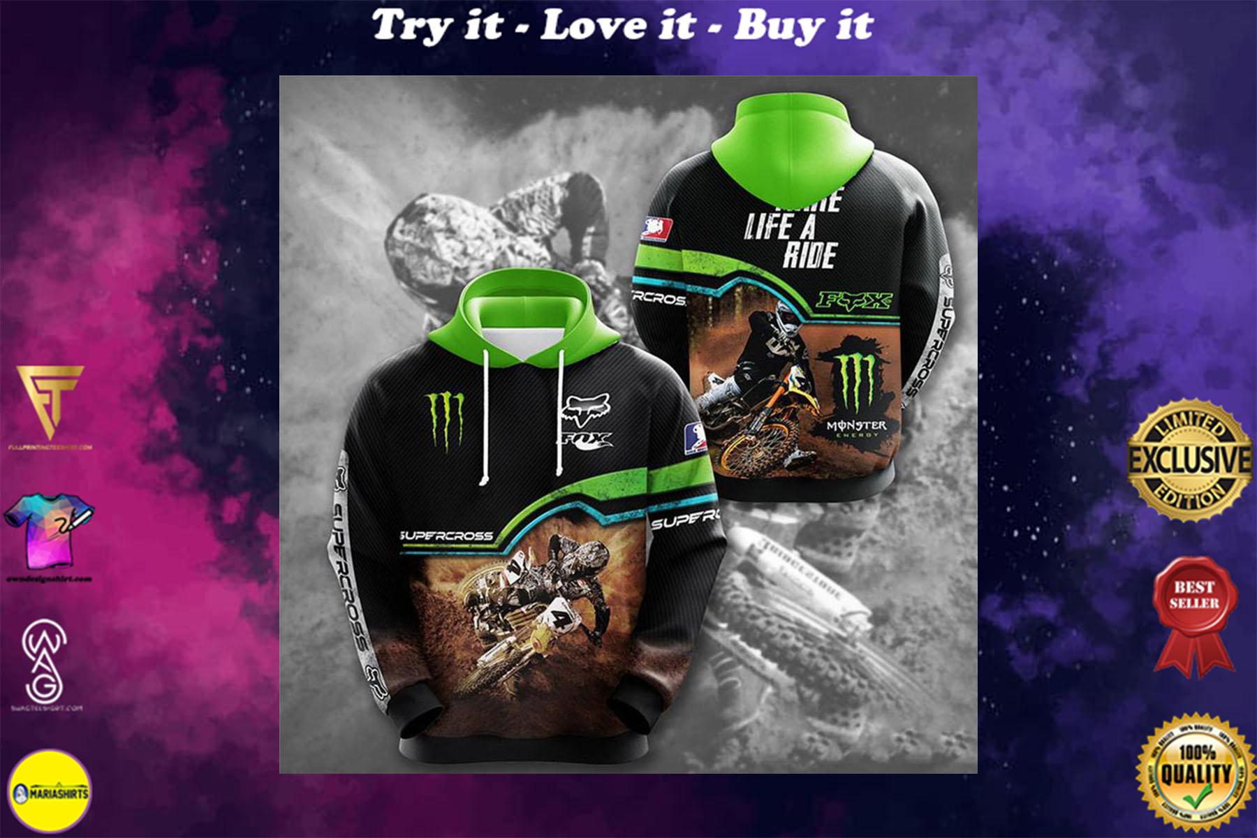 [special edition] monster energy fox racing motorcross full printing shirt - maria