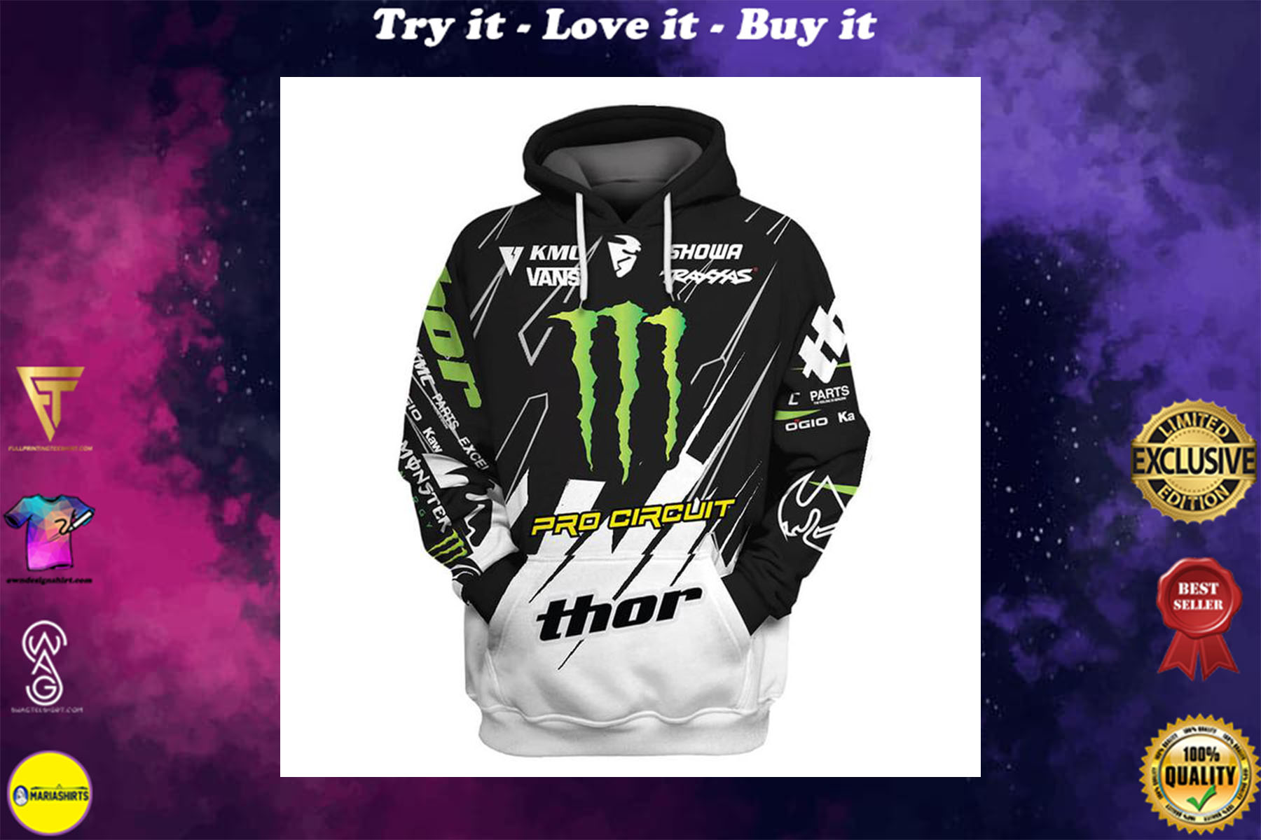 [special edition] monster energy pro circuit racing full printing shirt - maria