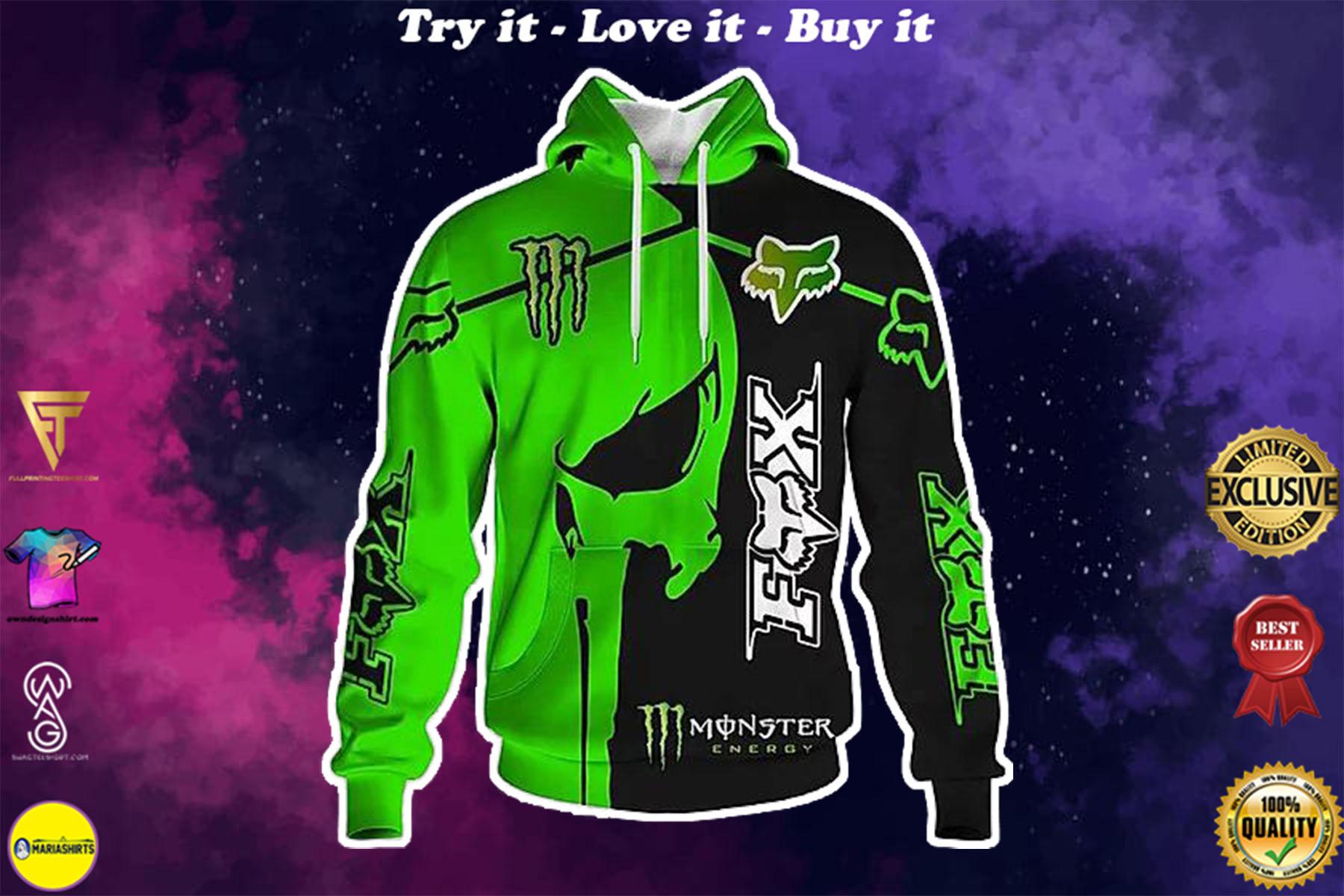 [special edition] monster energy skull full printing shirt - maria