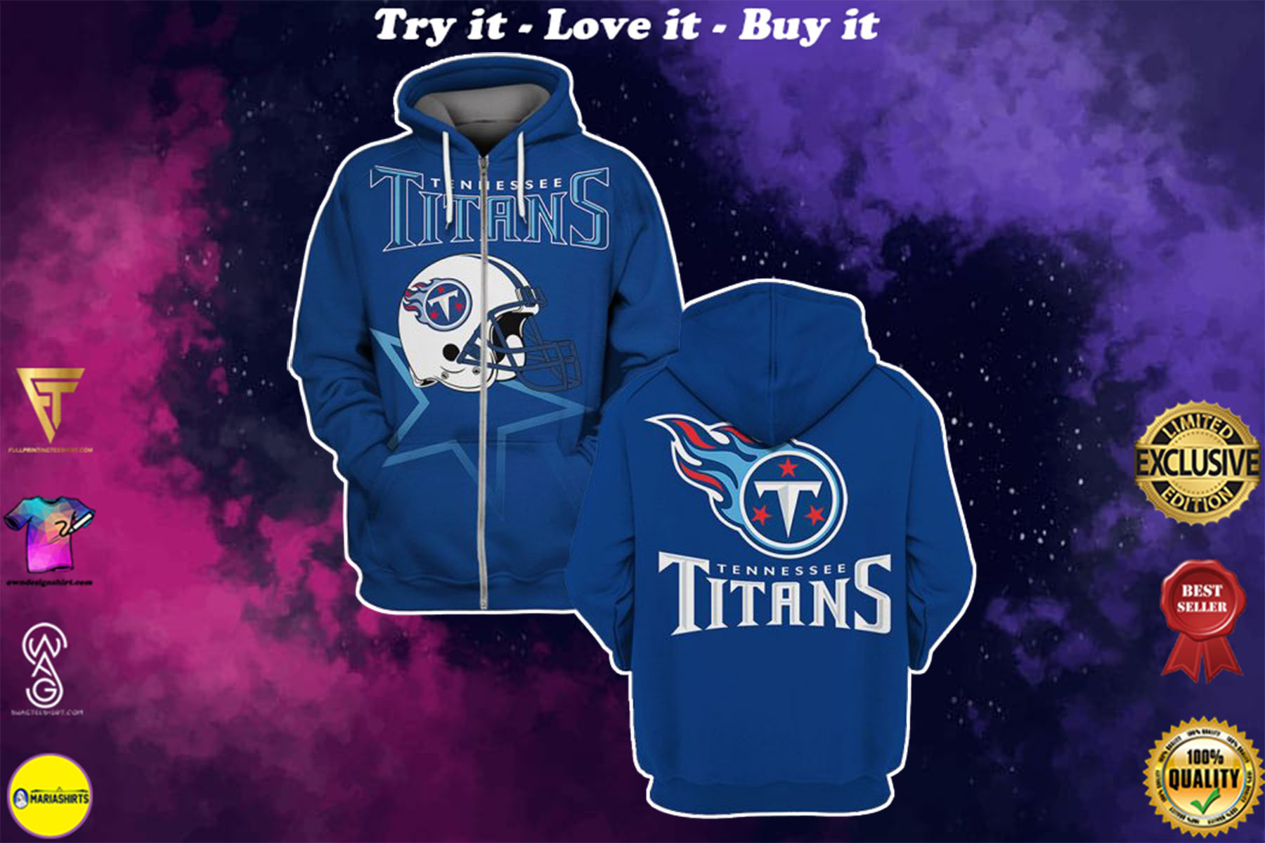 [special edition] national football league tennessee titans helmet full over printed shirt - maria