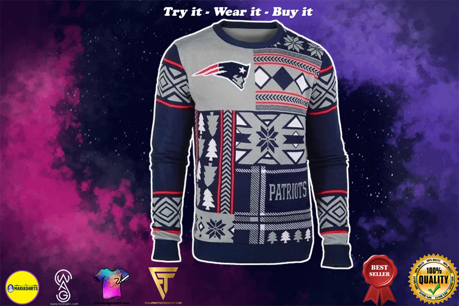 [special edition] new england patriots patches ugly christmas sweater - maria