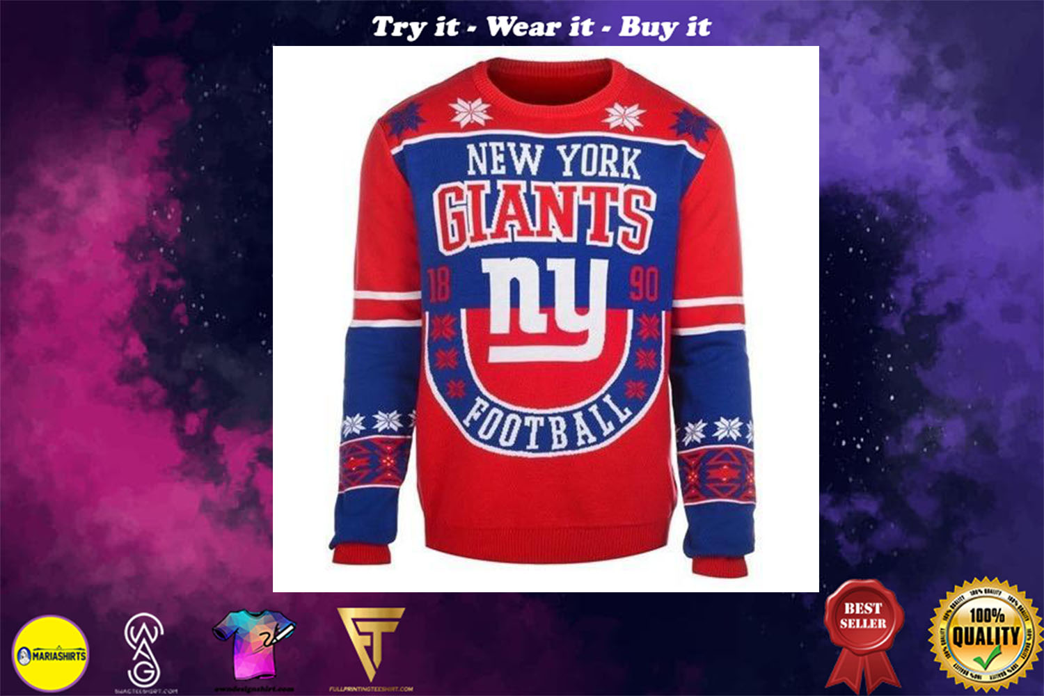 [special edition] new york giants holiday ugly christmas sweater - maria