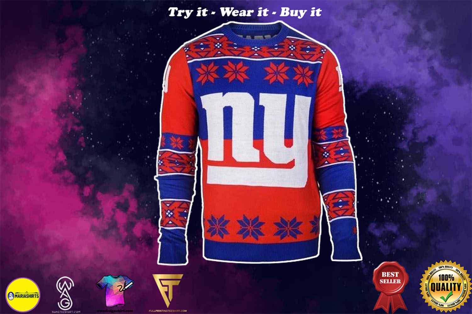 [special edition] new york giants national football league ugly christmas sweater - maria