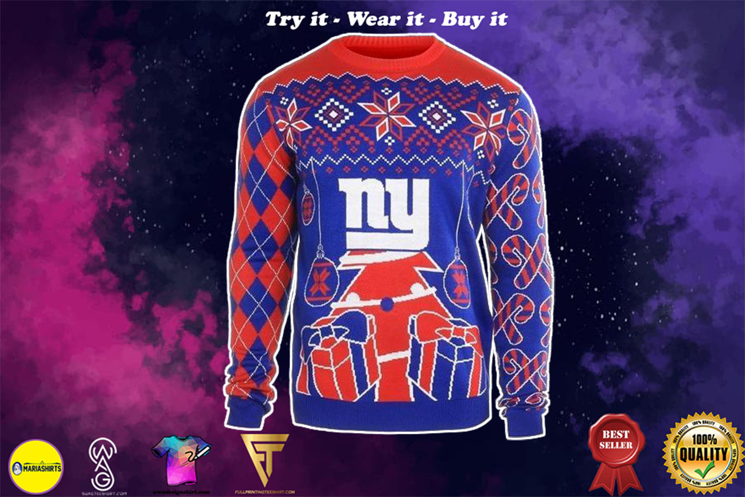 [special edition] new york giants ugly christmas sweater - maria