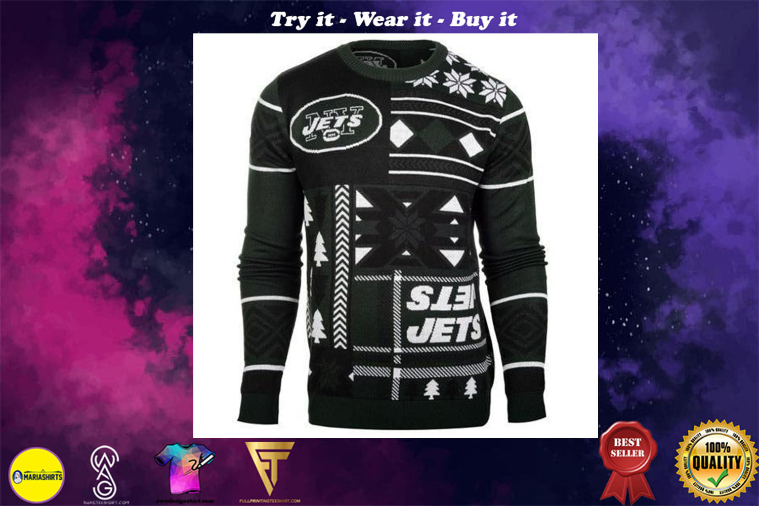 [special edition] new york jets patches ugly christmas sweater - maria
