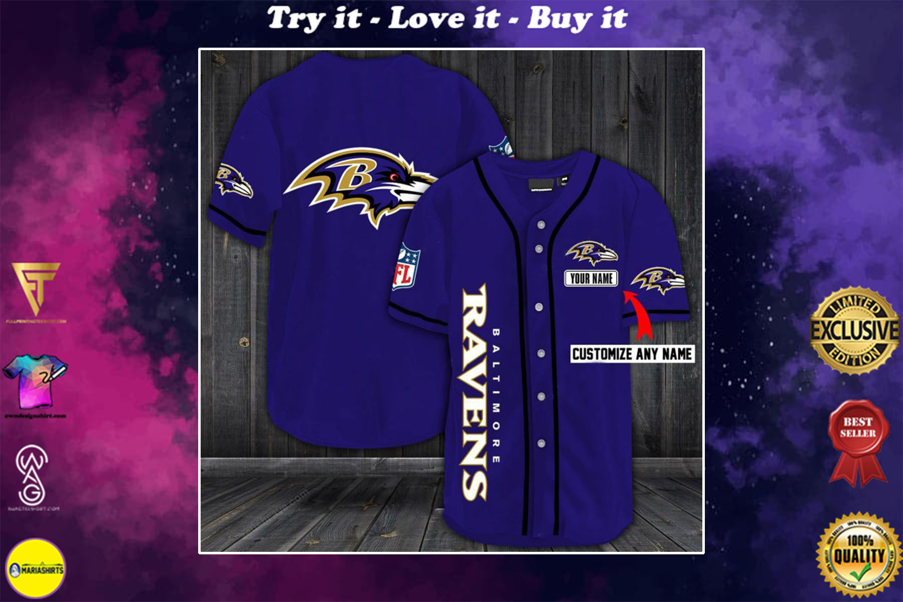 [special edition] personalized name jersey baltimore ravens shirt - maria