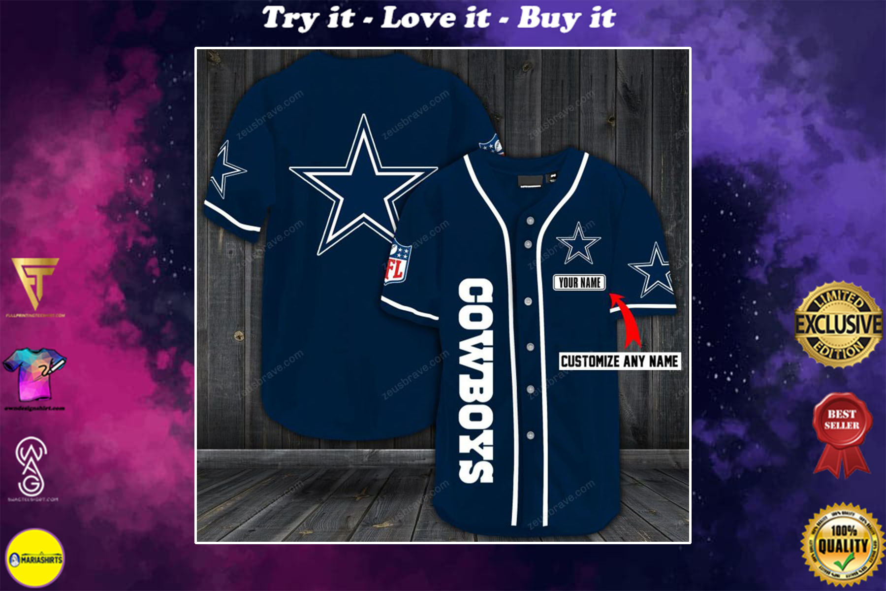 [special edition] personalized name jersey dallas cowboys shirt - maria