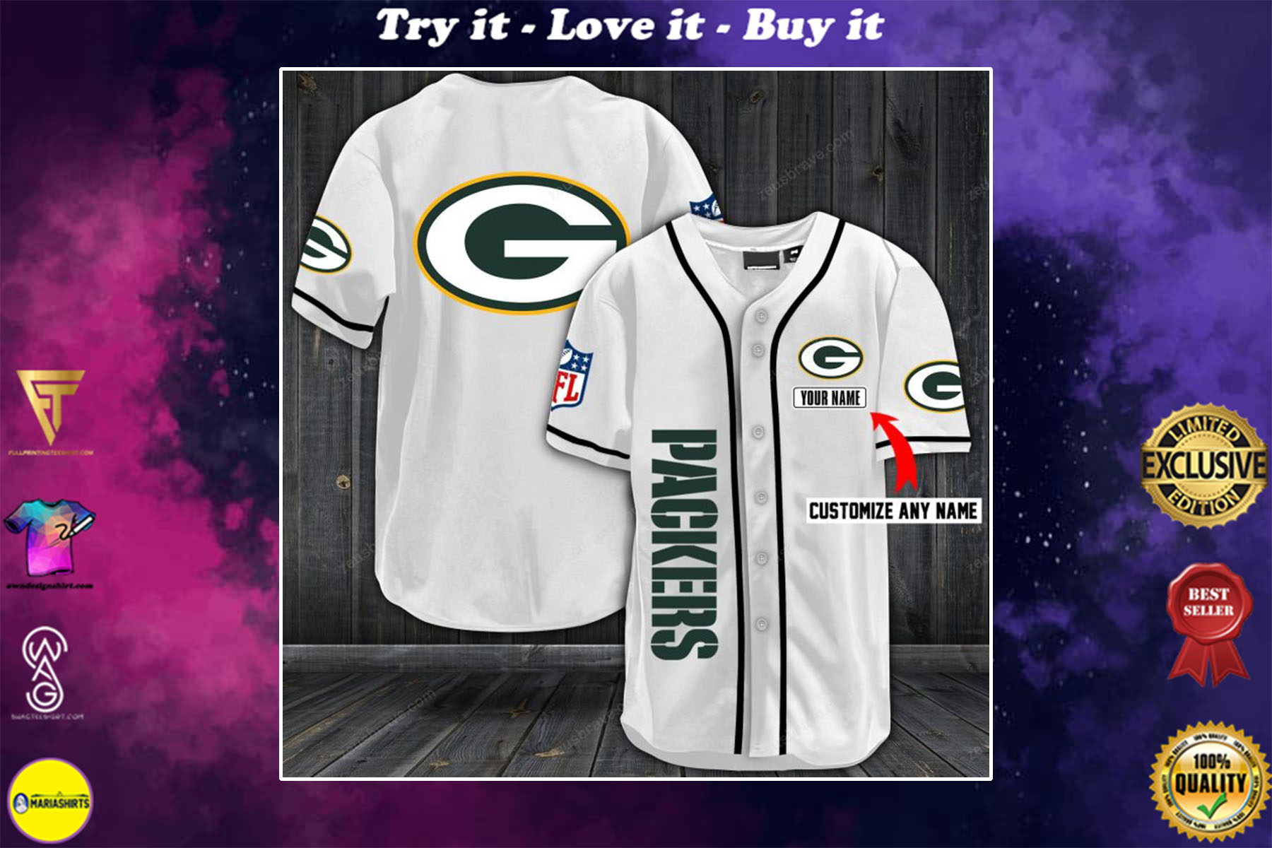 [special edition] personalized name jersey green bay packers full printing shirt - maria