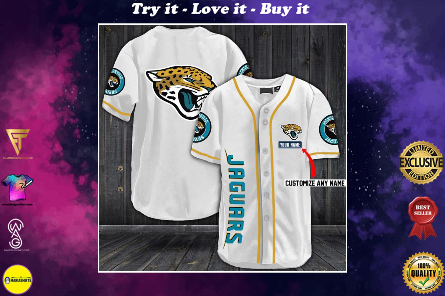 [special edition] personalized name jersey jacksonville jaguars full printing shirt - maria