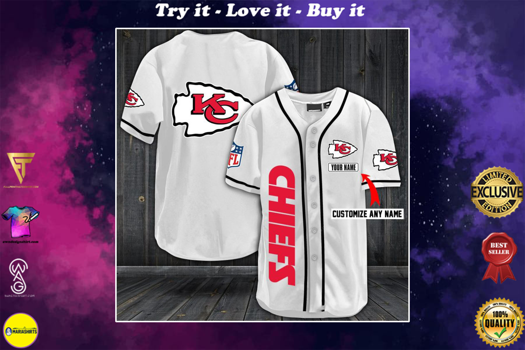 [special edition] personalized name jersey kansas city chiefs full printing shirt - maria
