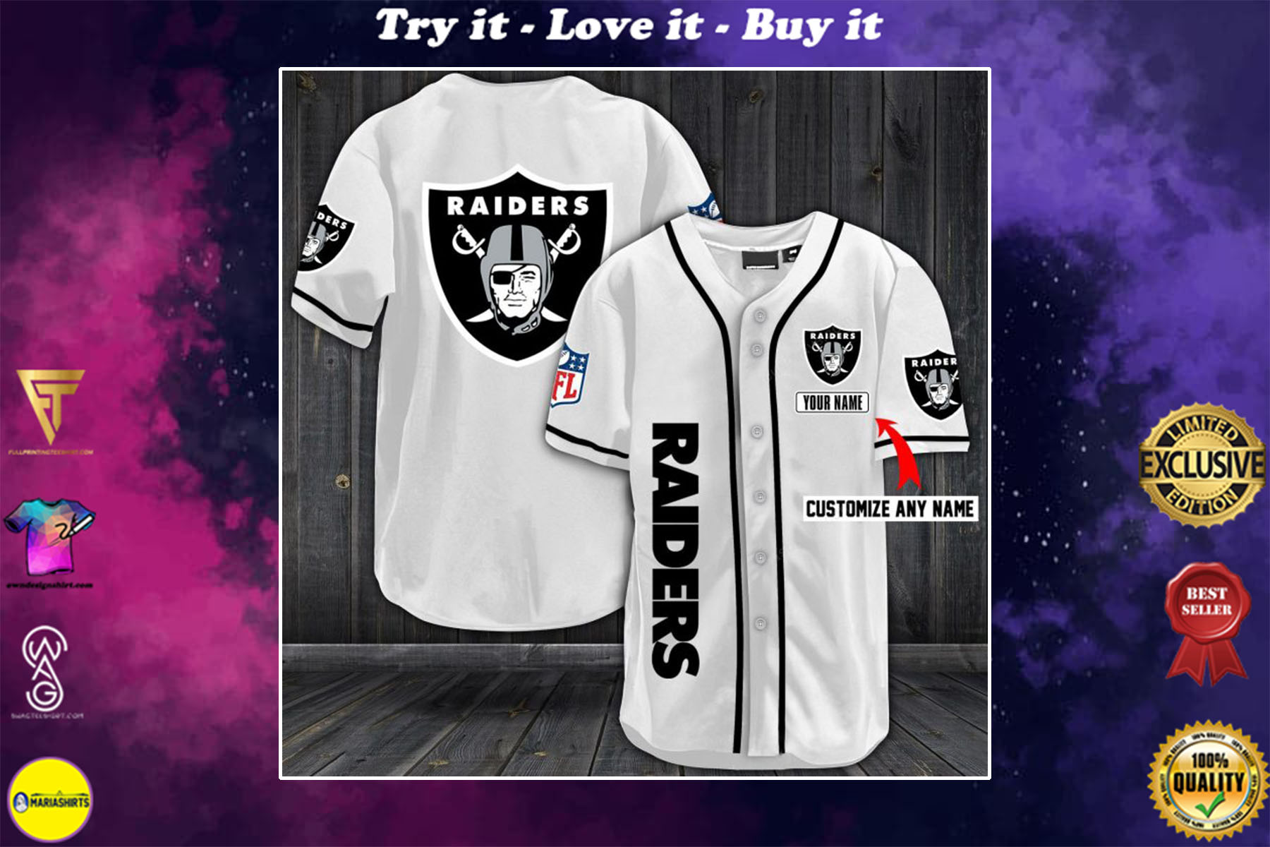 [special edition] personalized name jersey las vegas raiders full printing shirt - maria