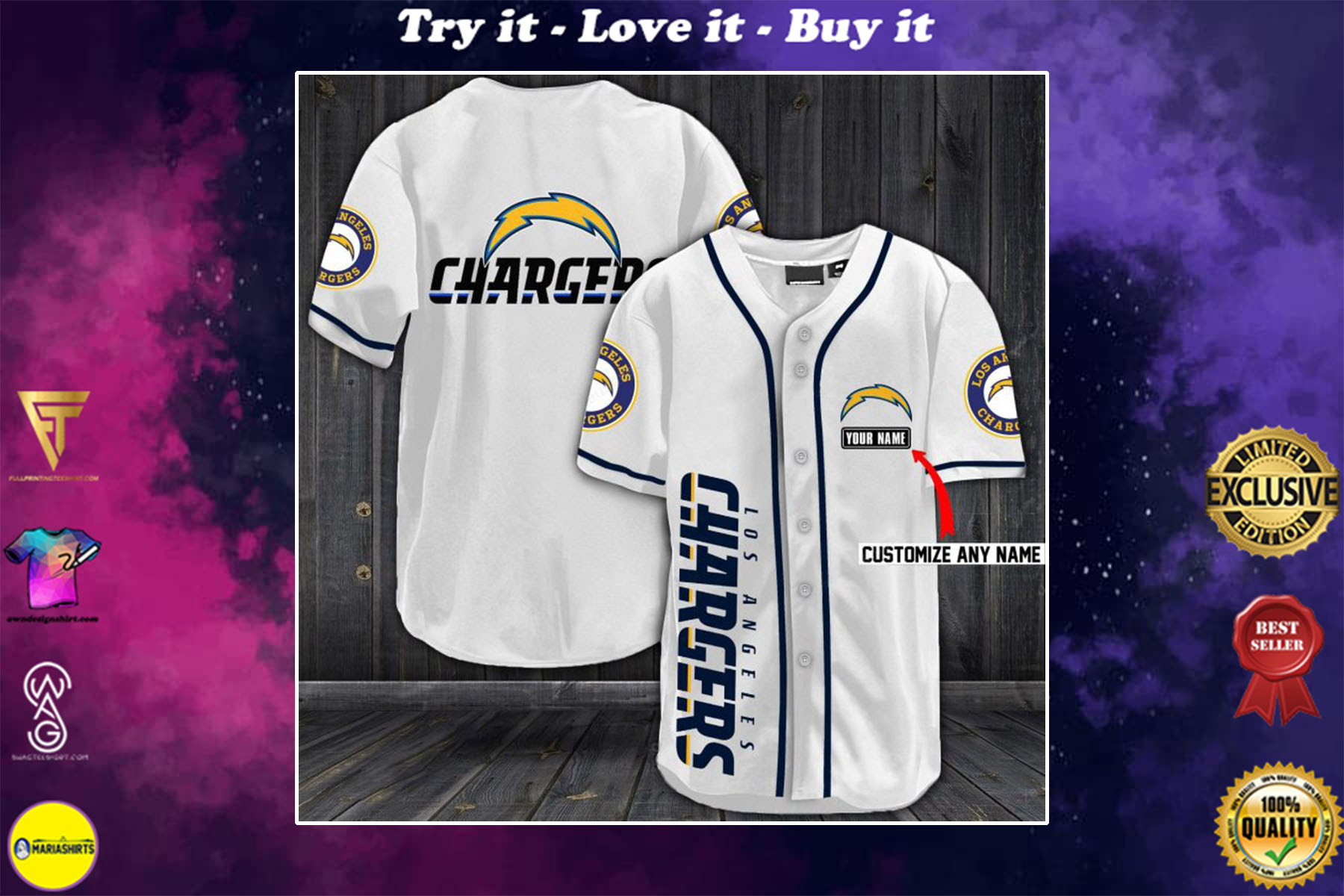 [special edition] personalized name jersey los angeles chargers full printing shirt - maria