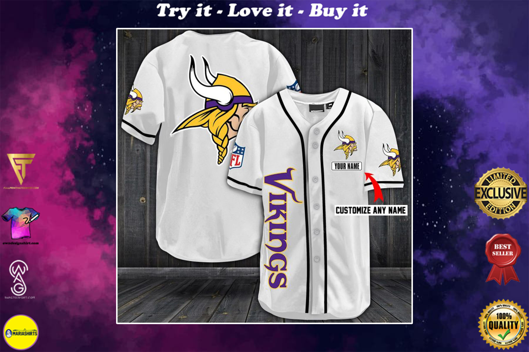 [special edition] personalized name jersey minnesota vikings full printing shirt - maria