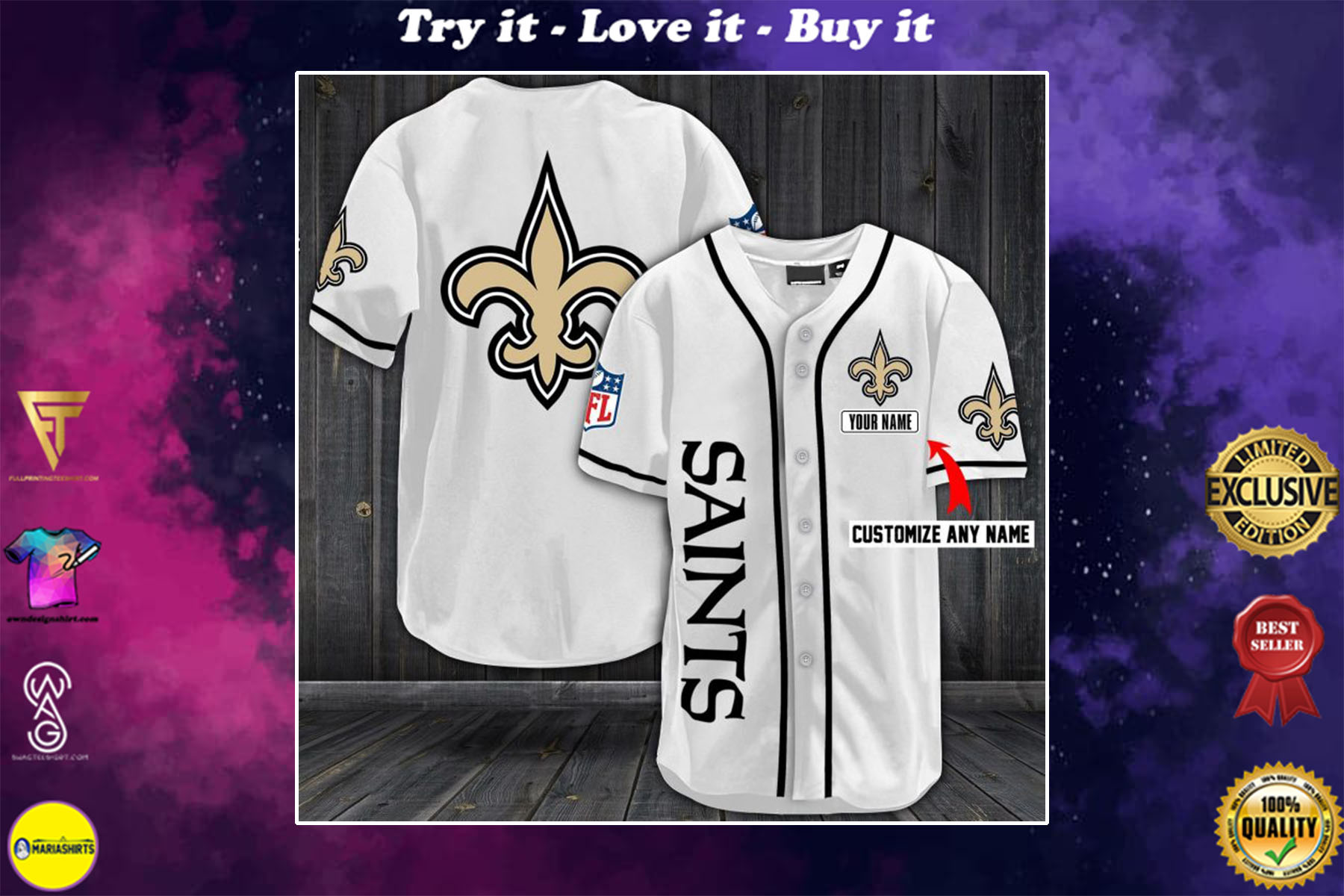 [special edition] personalized name jersey new orleans saints full printing shirt - maria