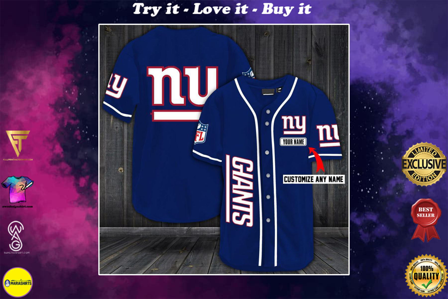 [special edition] personalized name jersey new york giants shirt - maria