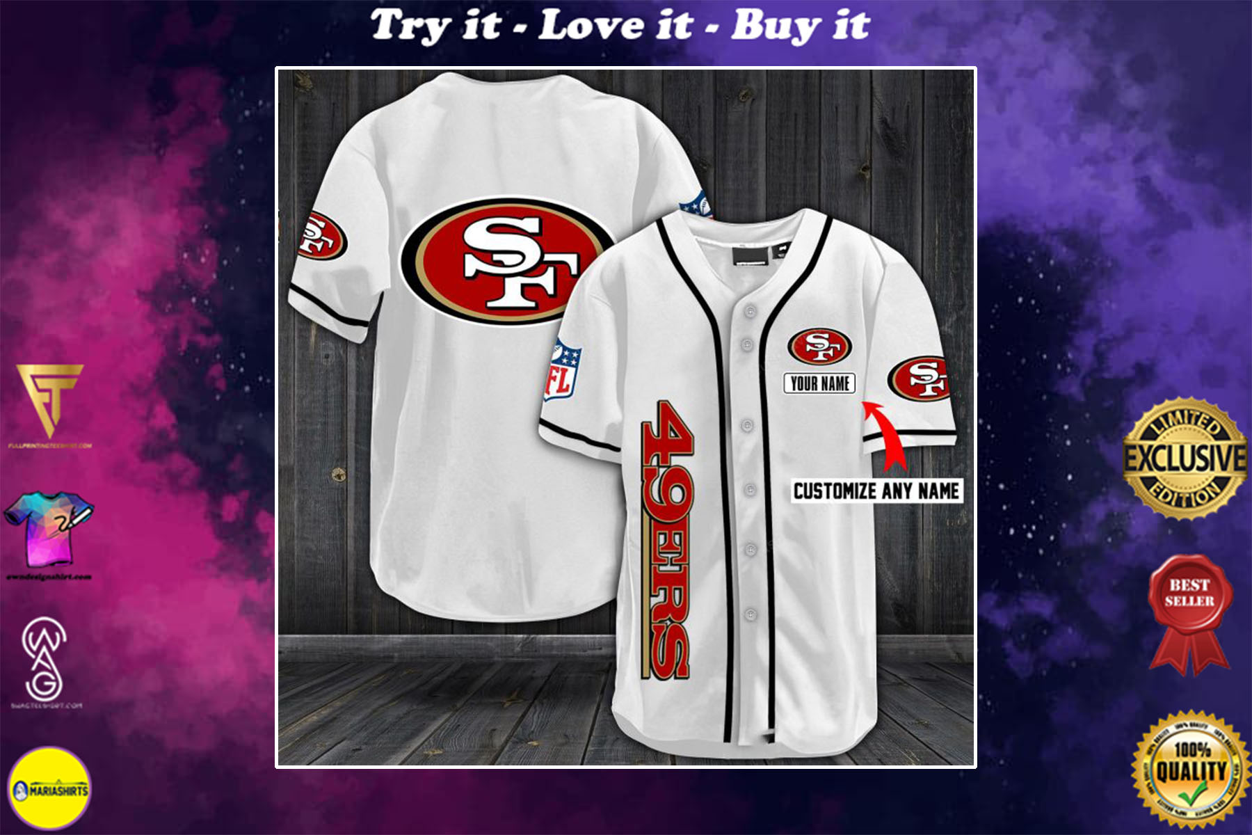 [special edition] personalized name jersey san francisco 49ers full printing shirt - maria