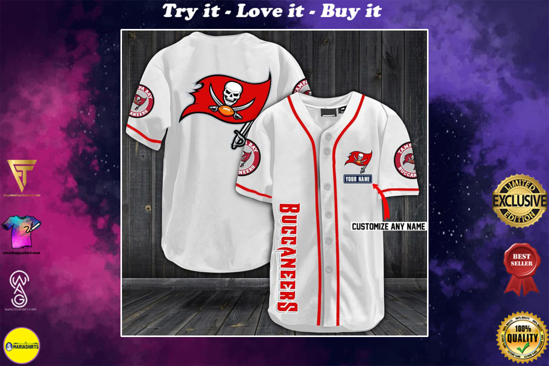 [special edition] personalized name jersey tampa bay buccaneers full printing shirt - maria