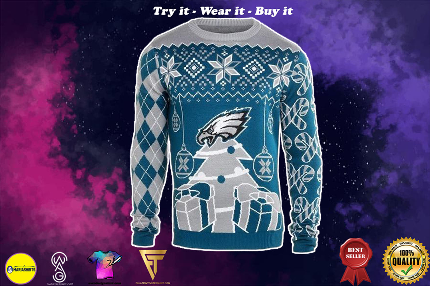 [special edition] philadelphia eagles ugly christmas sweater - maria