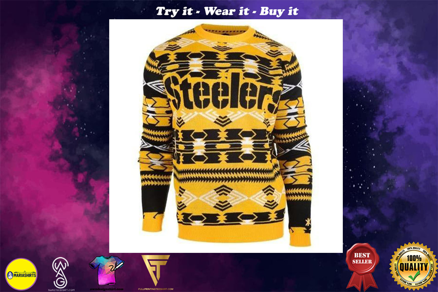 [special edition] pittsburgh steelers aztec print ugly christmas sweater - maria