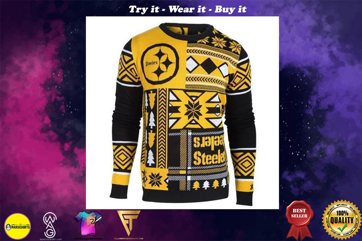 [special edition] pittsburgh steelers patches ugly christmas sweater - maria