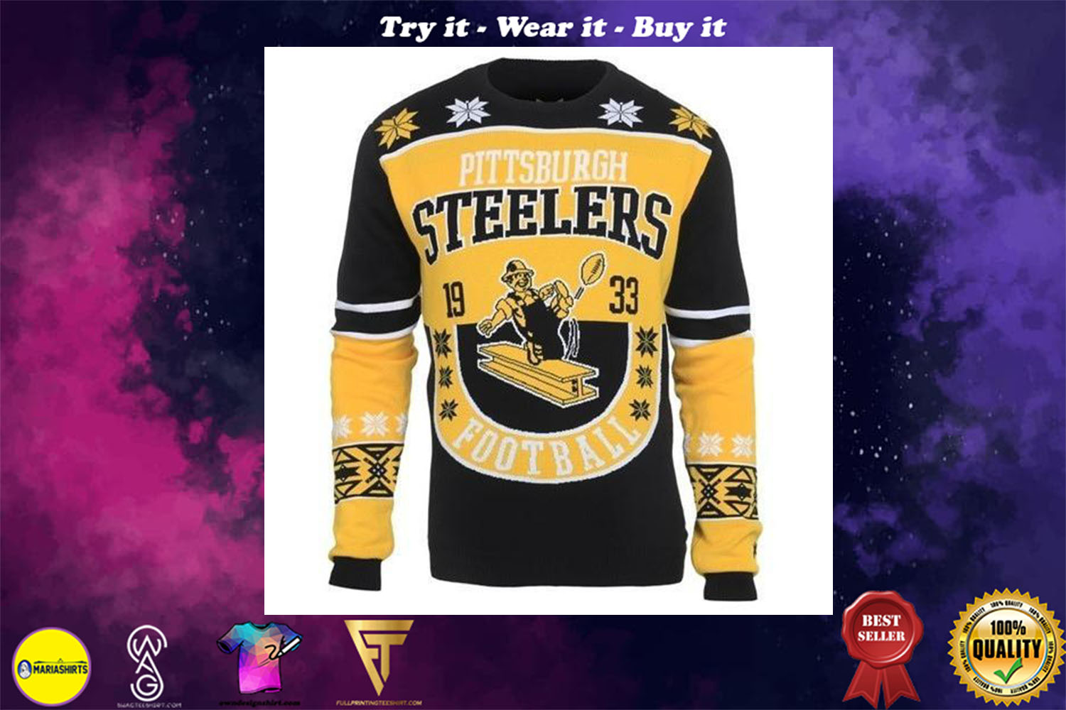 [special edition] pittsburgh steelers ugly christmas sweater - maria