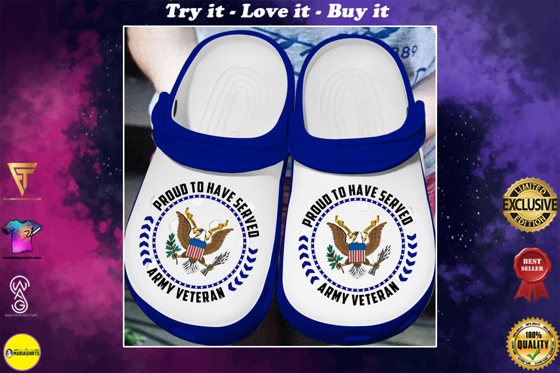 [special edition] proud to have served army veteran crocs shoes - maria